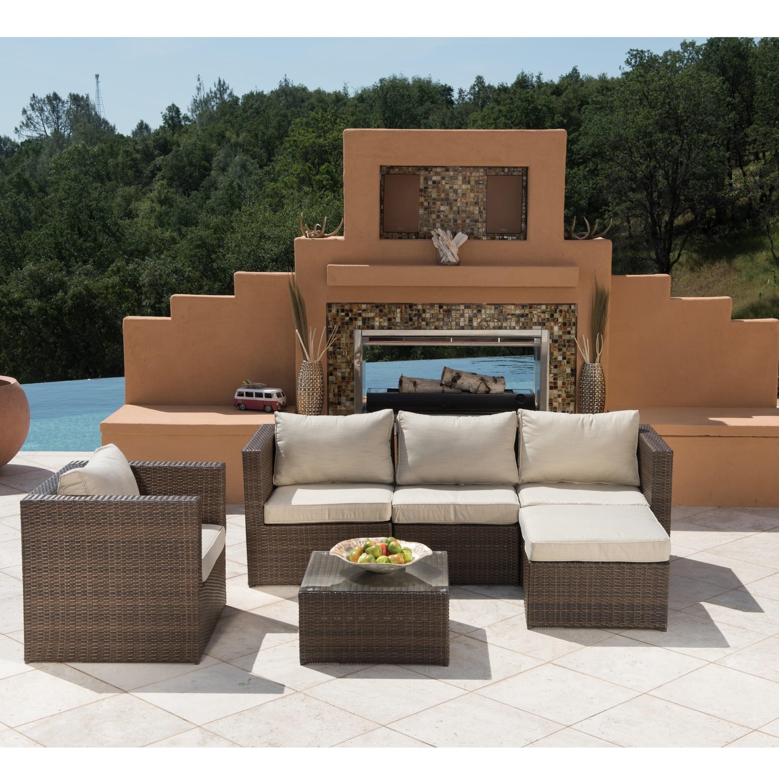 Corvus Trey 6 piece Brown Wicker Patio Furniture Set Free