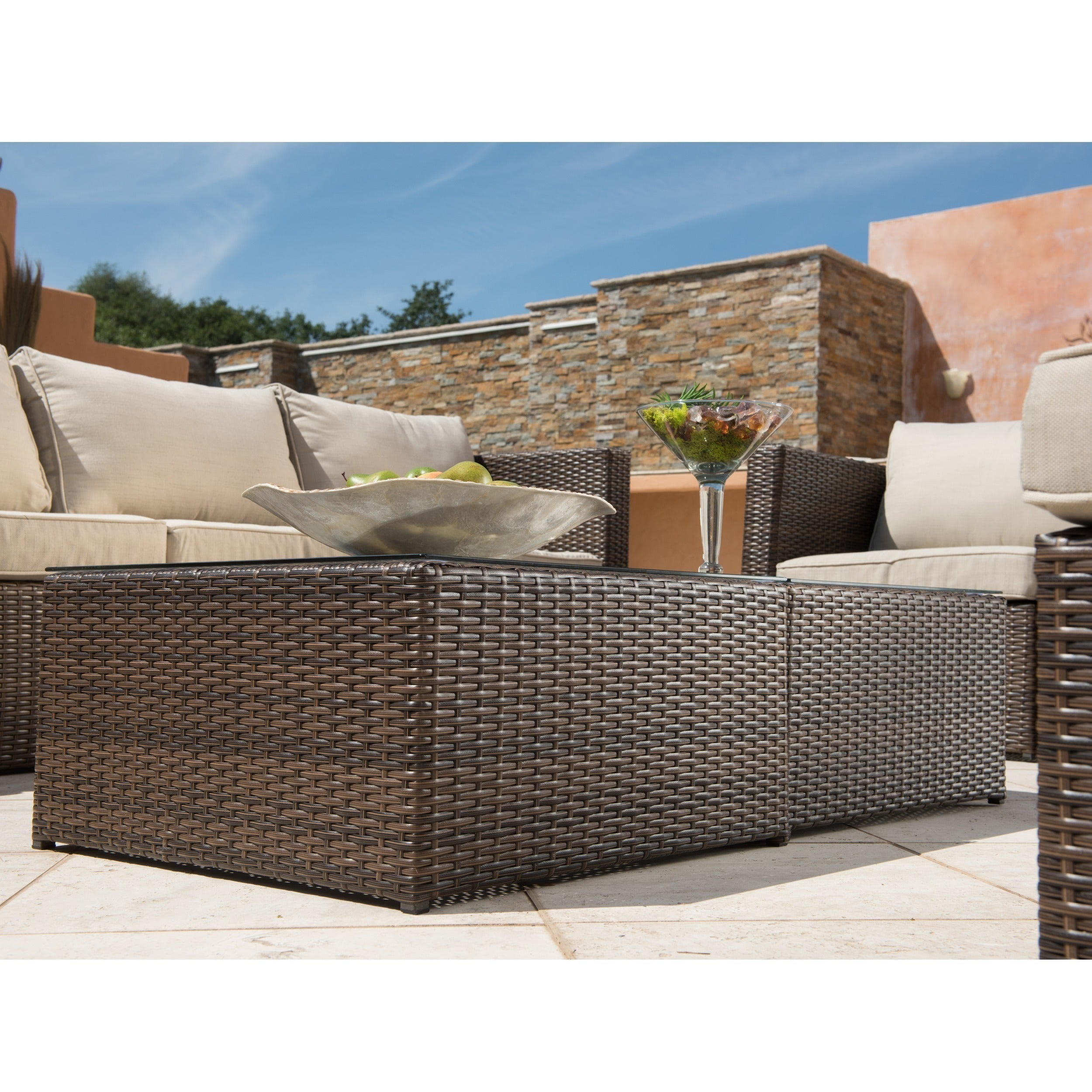 Corvus Trey 12 Piece Dark Brown Wicker Patio Furniture Set With Gl Top On Free Shipping Today 11047230