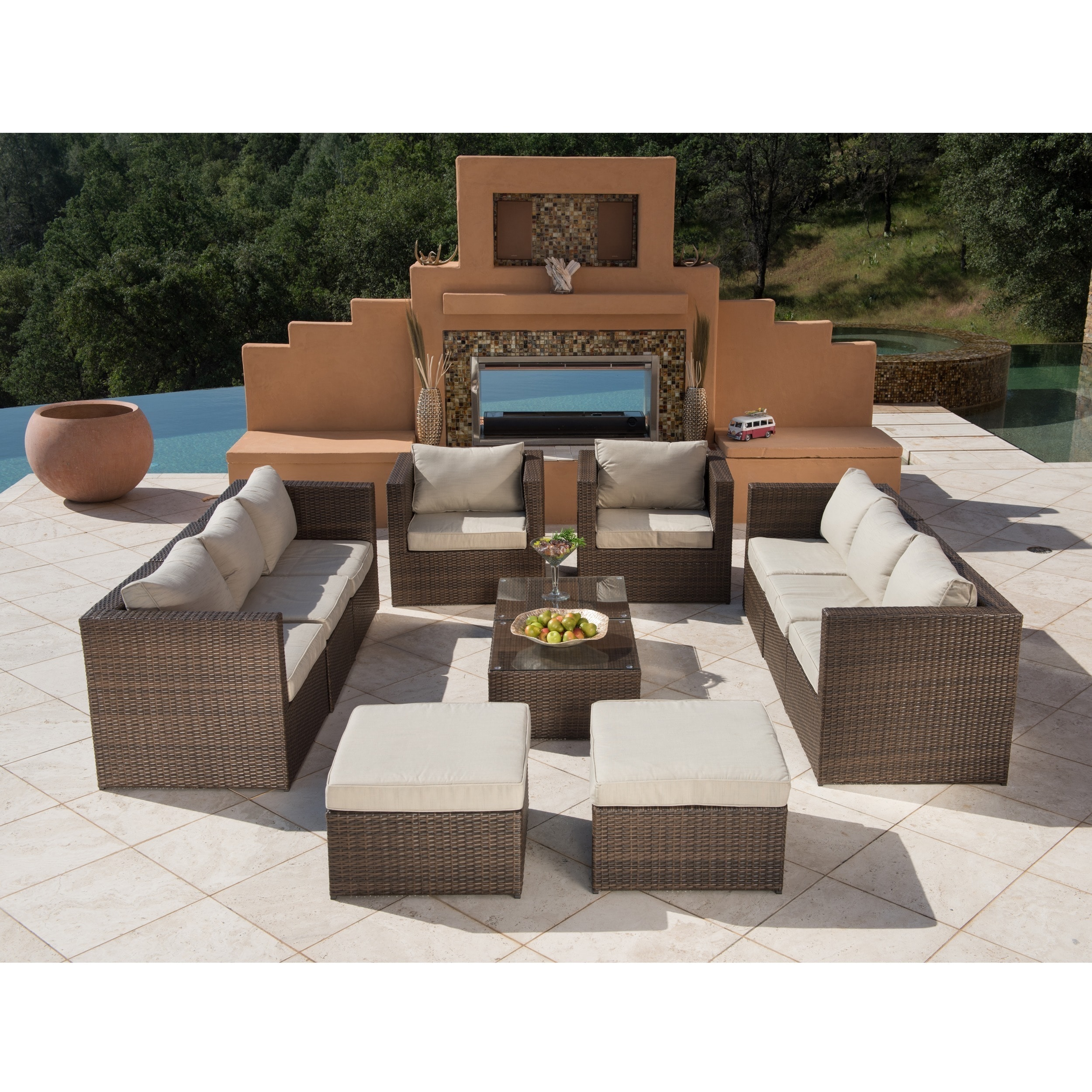 Corvus Trey 12 piece Dark Brown Wicker Patio Furniture Set with