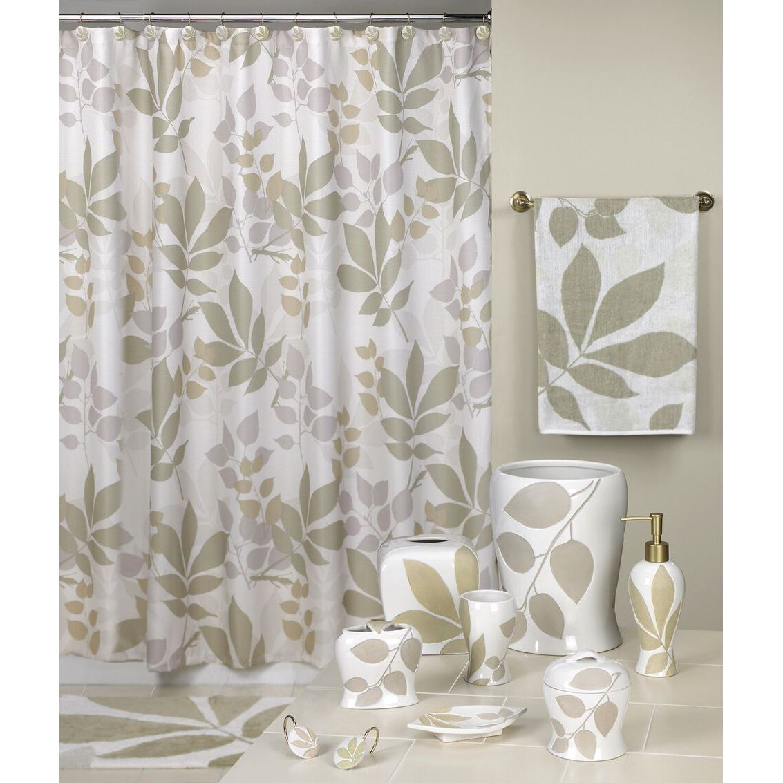 Shop Shadow Leaves Shower Curtain and Bathroom Accessories Separates ...