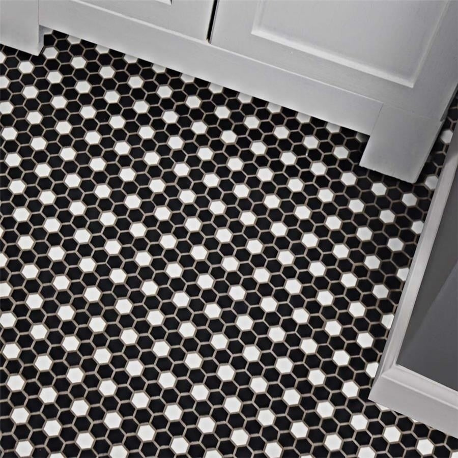 Shop Somertile 115x1325 Inch Victorian Hex Matte Black And White