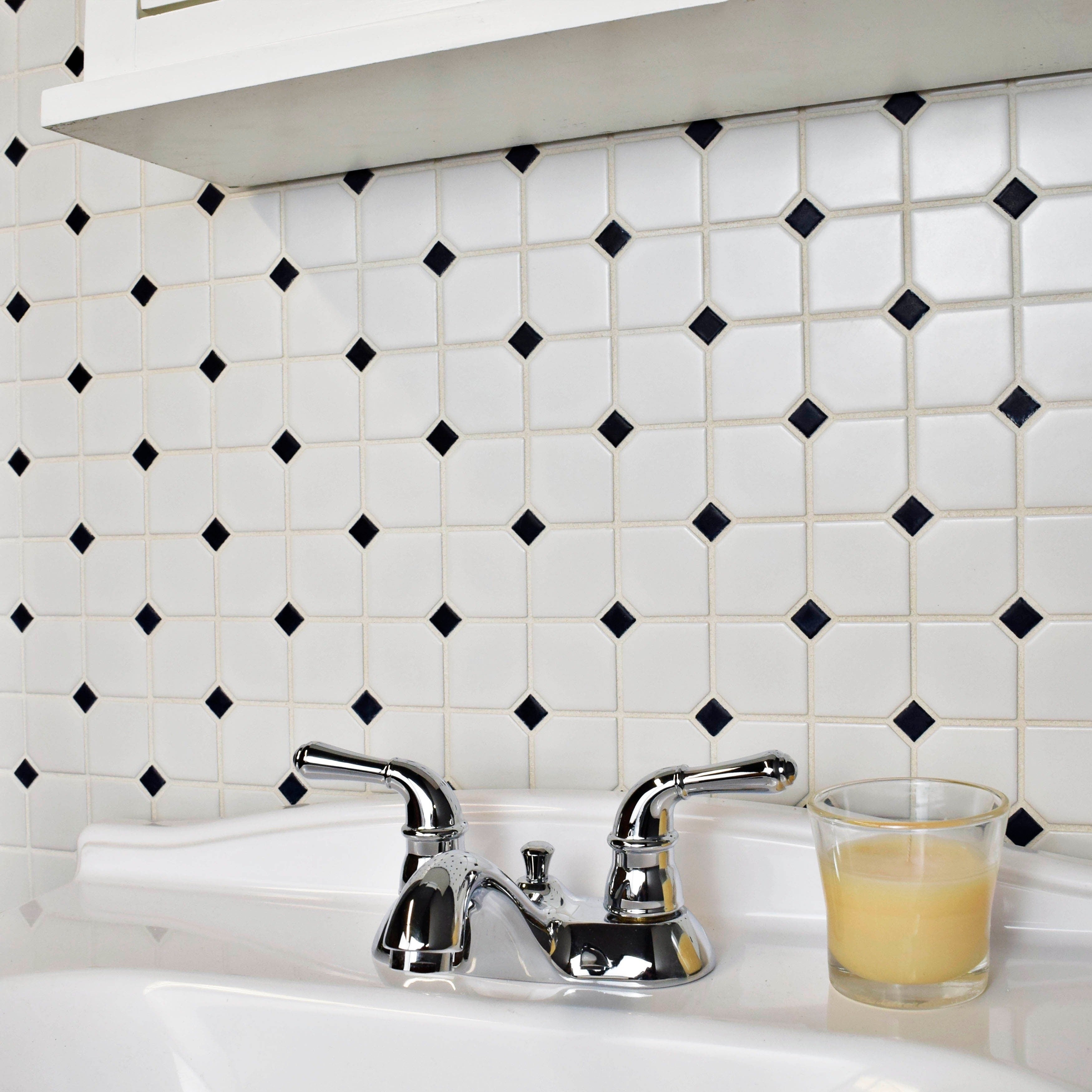SomerTile 11.75x11.75-inch Victorian Broadway Matte White and Black ...