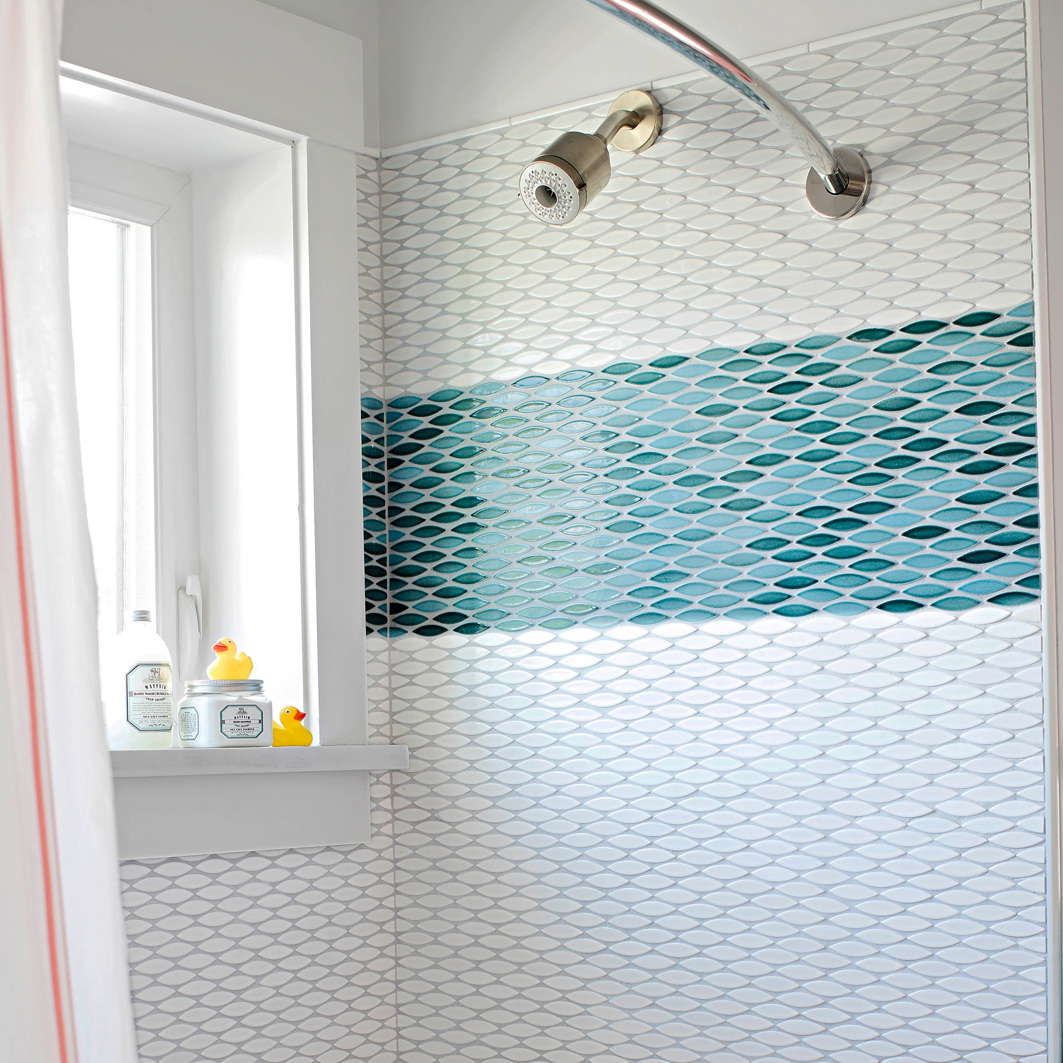 SomerTile 12x12.5-inch Pisces Glossy Agua Ceramic Mosaic Floor and ...