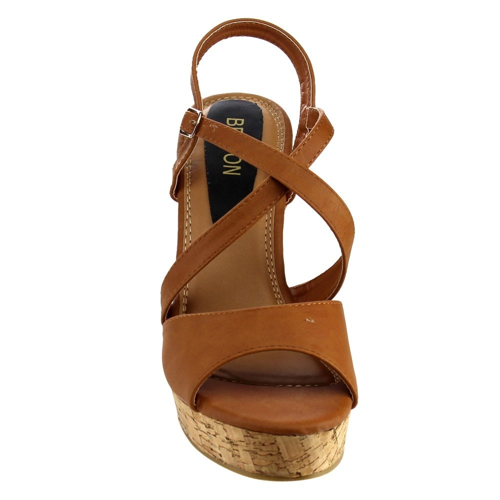 3656ce9651d9 Shop Beston Women s EA49 Strappy Slingback Platform Cork Wedge Sandals -  Free Shipping On Orders Over  45 - Overstock - 11051748