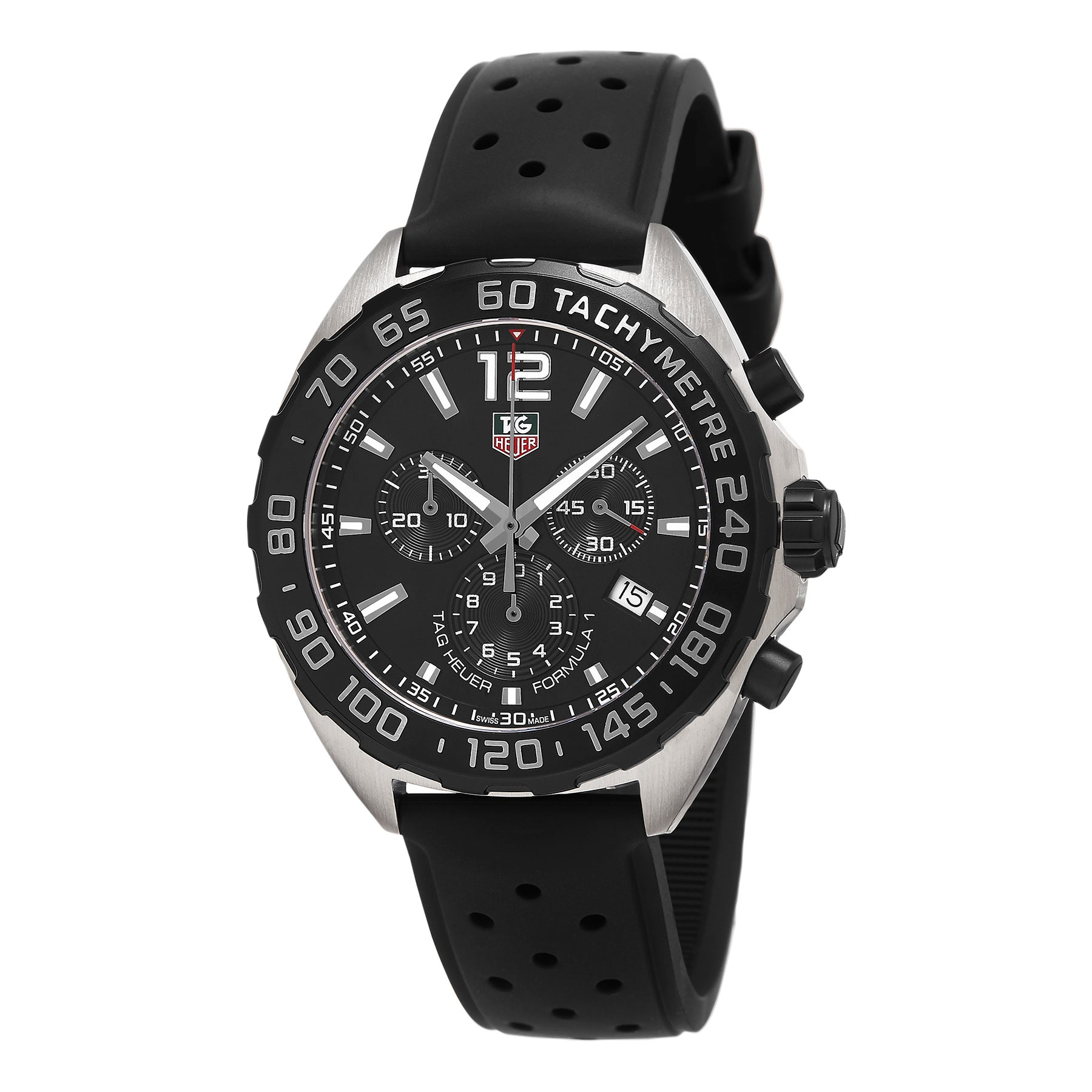 07bbd0f6dff Shop Tag Heuer Men s CAZ1110.FT8023  Formula 1  Chronograph Black Rubber  Watch - Free Shipping Today - Overstock - 11065836