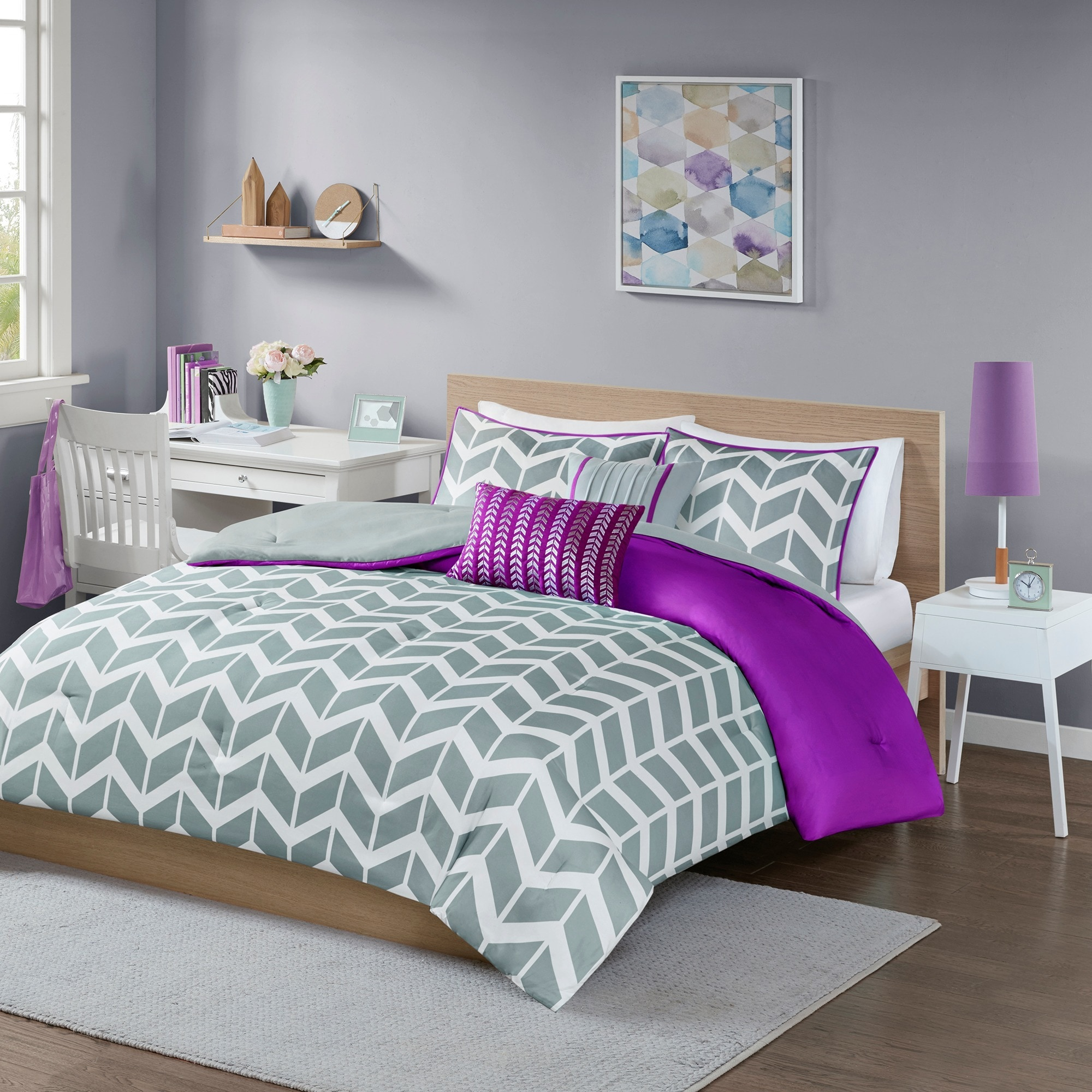 comforter plum bed dp park set madison queen home piece hampton purple kitchen bedding com amazon