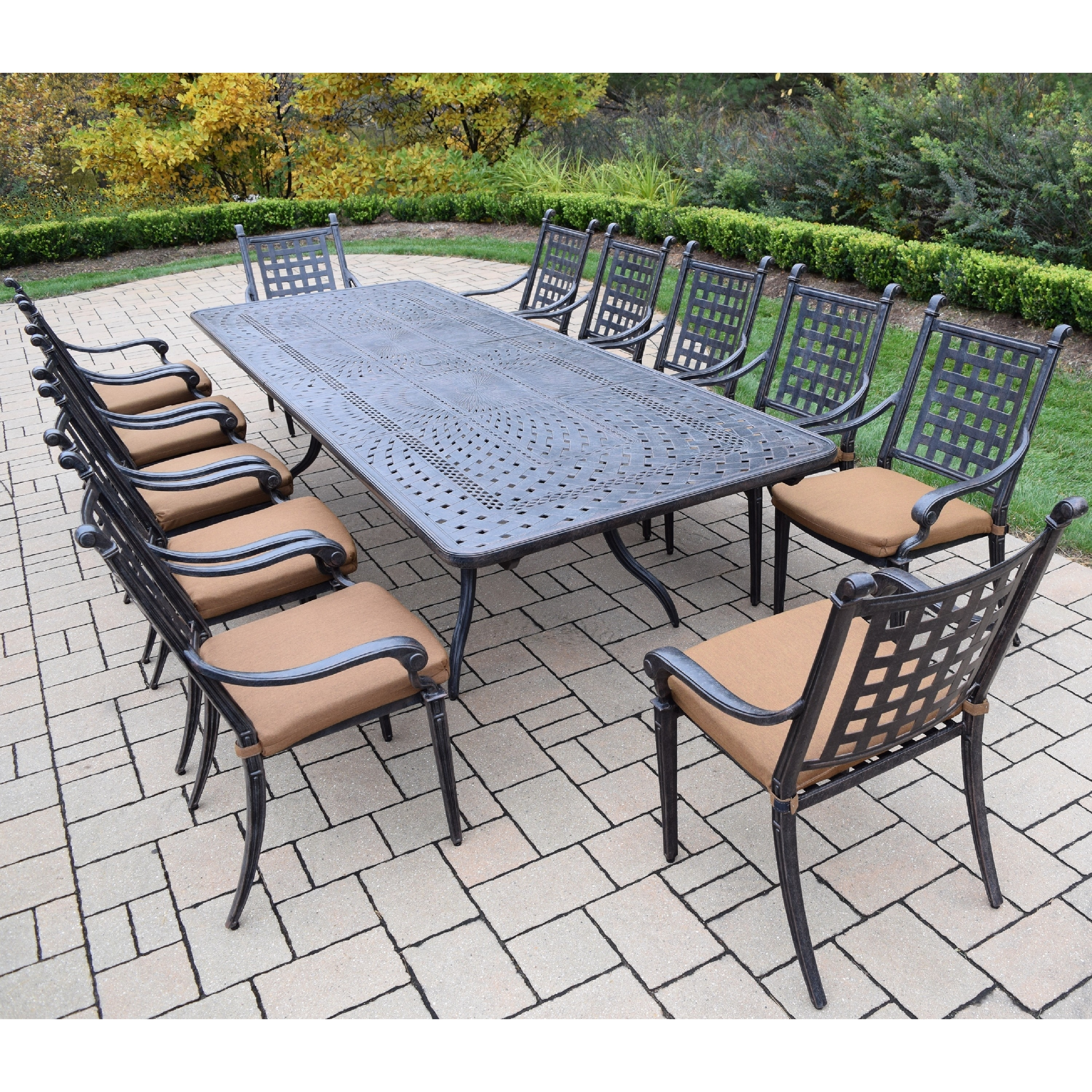 Shop 13 Pc Dining Set With Extendable Table And Sunbrella Cushioned Chairs    On Sale   Free Shipping Today   Overstock.com   11067482