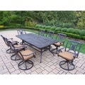 Cast Aluminum 9-piece Dining Set with Extendable Table, and 8 Sunbrella Cushioned Swivel Rockers