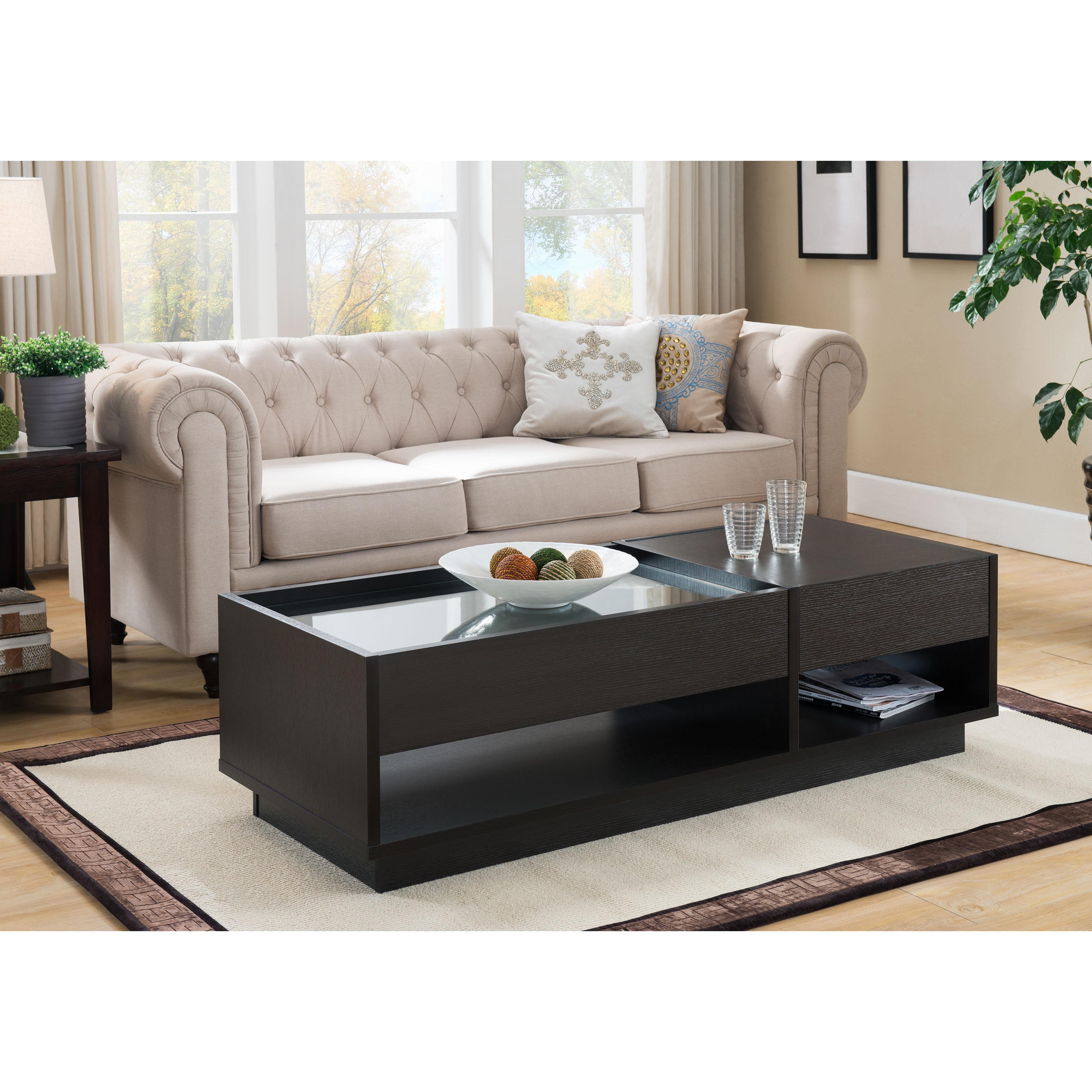 Furniture of America Lepton Modern Cappuccino 2 drawer Glass