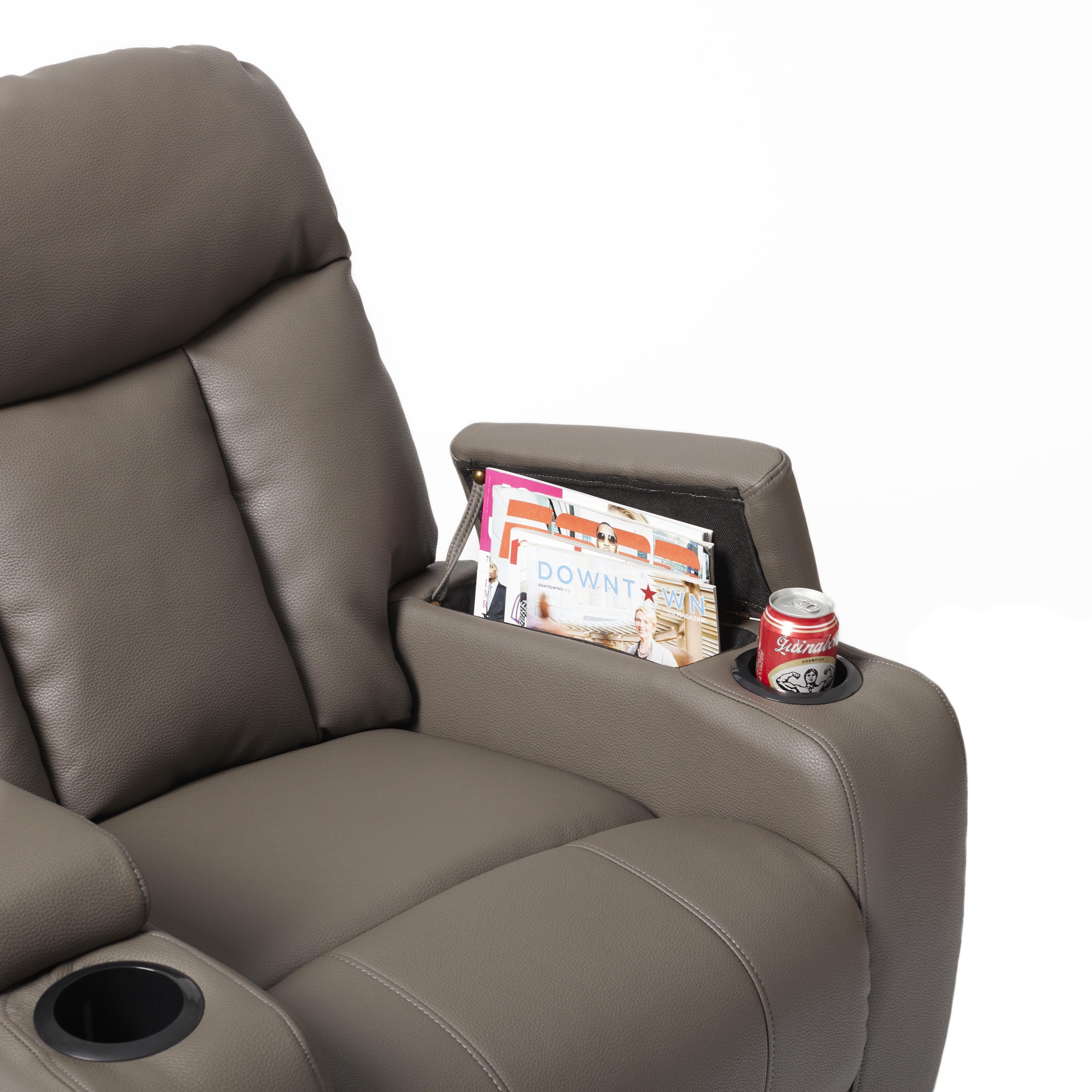 Shop ProLounger Tuff Stuff Taupe Synthetic Leather Wall Hugger Storage Arm  Recliner   Free Shipping Today   Overstock.com   11069478