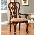 Furniture of America Carpia Formal Cherry Brown Upholstered Dining Chair (Set of 2)