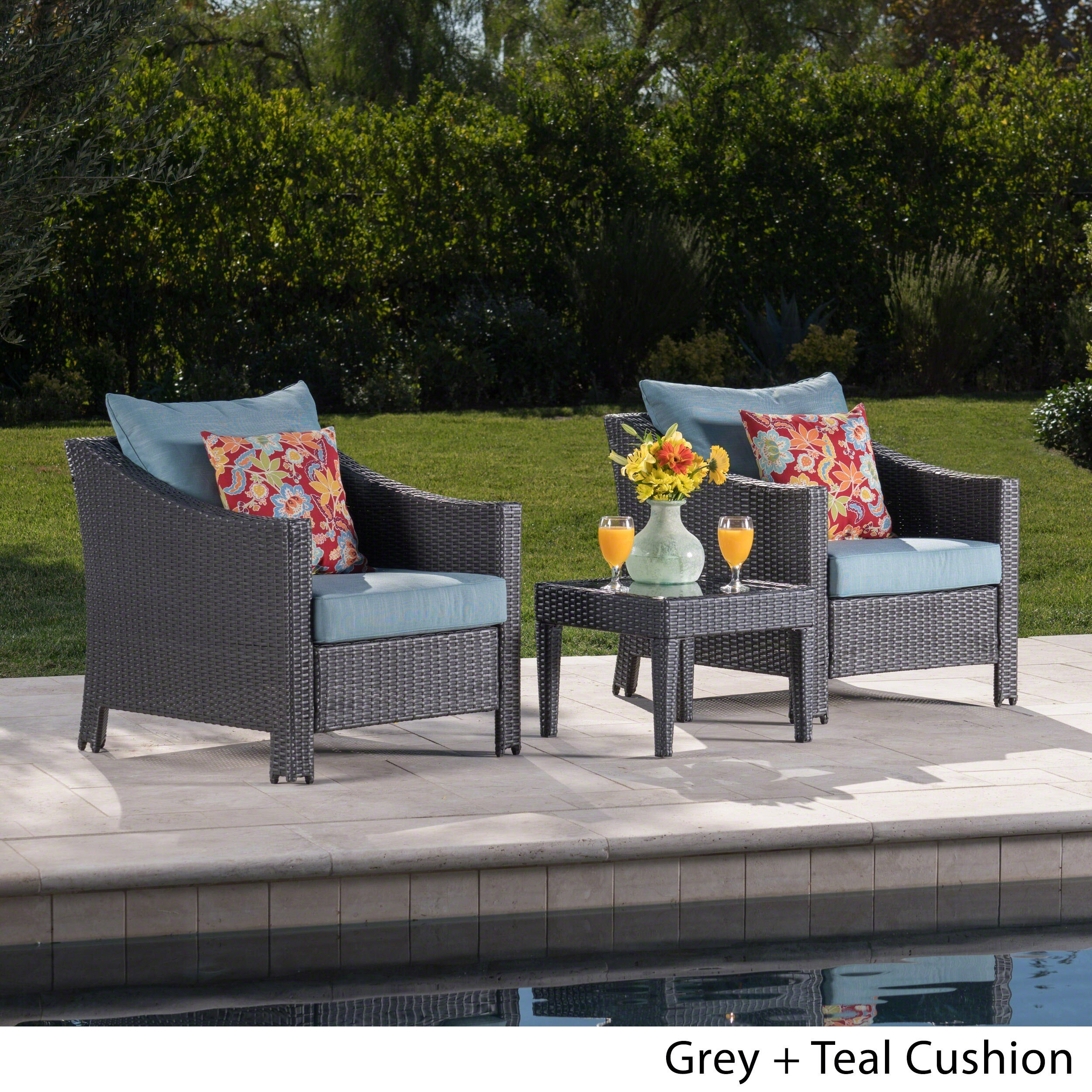 Shop Antibes Outdoor 3 Piece Wicker Conversation Set With Cushions   Free  Shipping Today   Overstock.com   11078738