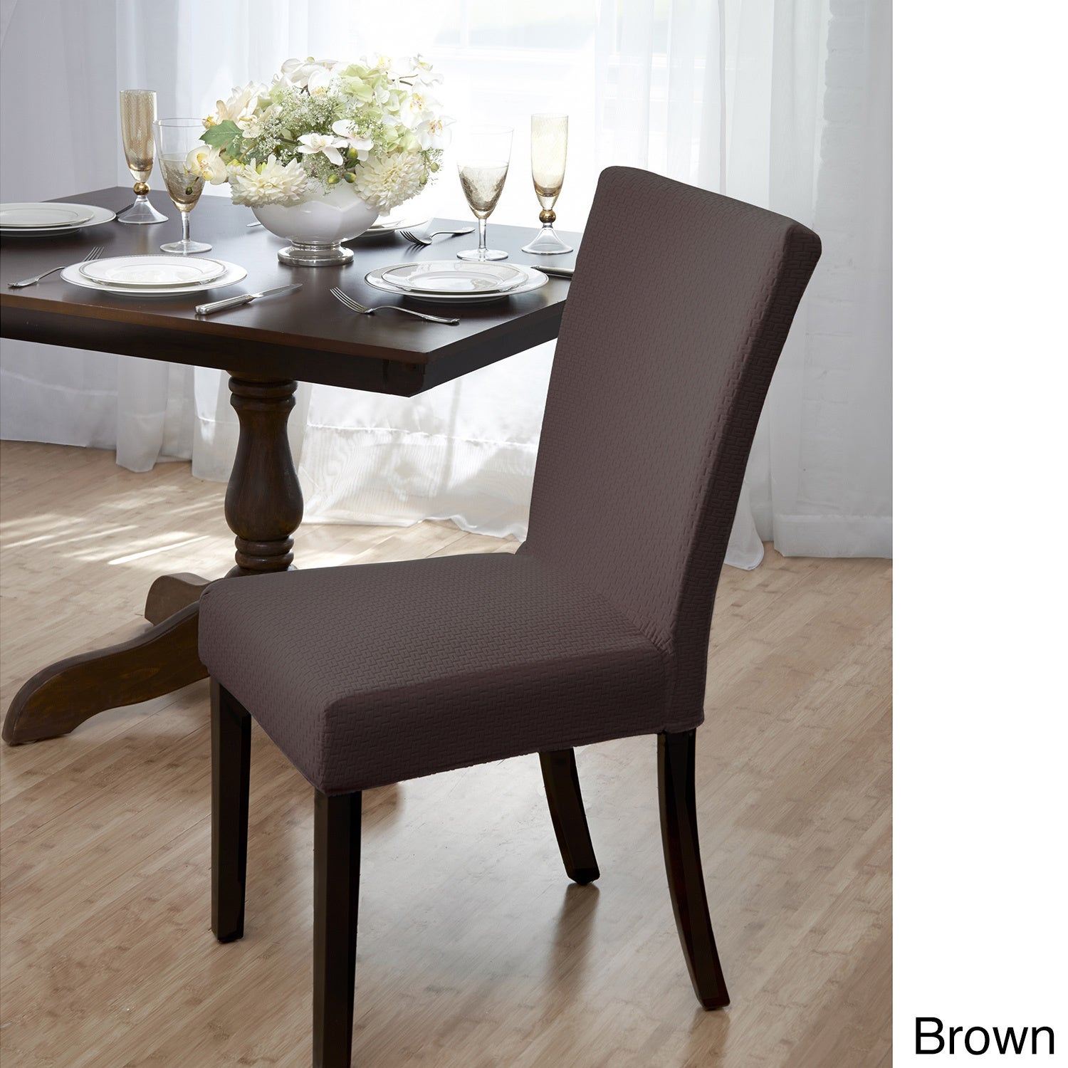 Dining Room Chair Covers Brown shop sanctuary subway knit jacquard dining room chair cover - free