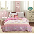 Mi Zone Kids Beaked Betty Pink Owl Coverlet Set