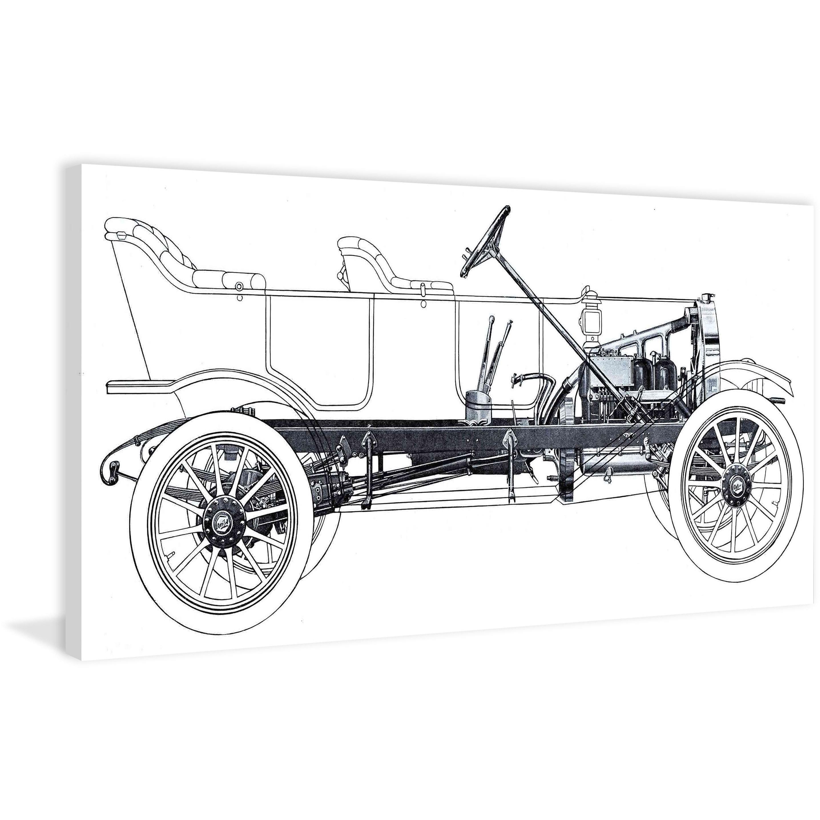 Marmont Hill - Vintage Race Car Blueprint 1 Painting Print on Canvas -  Multi-color