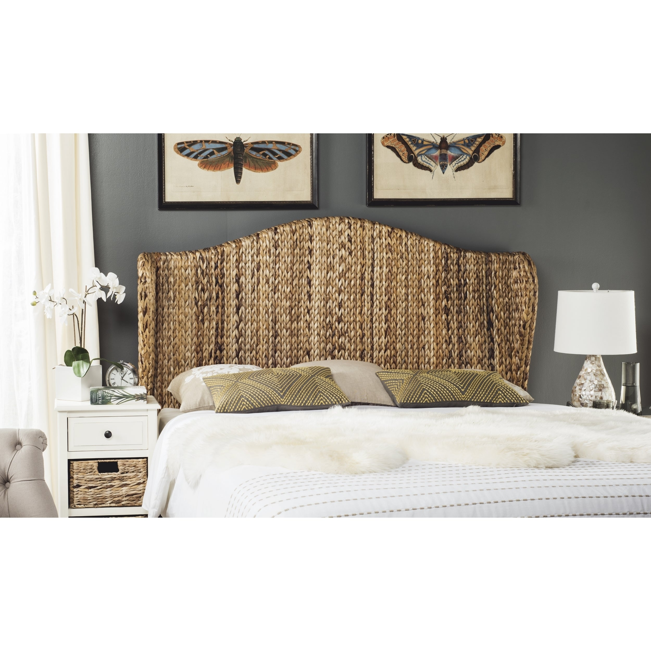 Shop Safavieh Nadine Natural Woven Wingback Headboard (Queen) - On ...