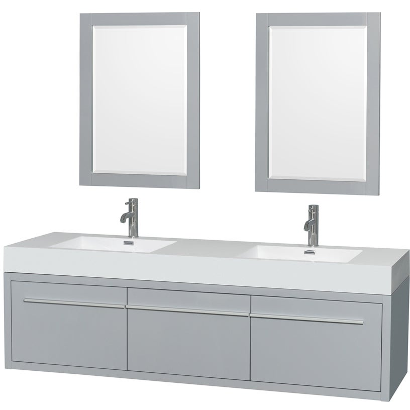 70523730c94 Shop Wyndham Collection Axa 72-inch Dove Grey Acrylic Resin Top Double  Vanity with Integrated Sinks and 24-inch Mirrors - Free Shipping Today ...
