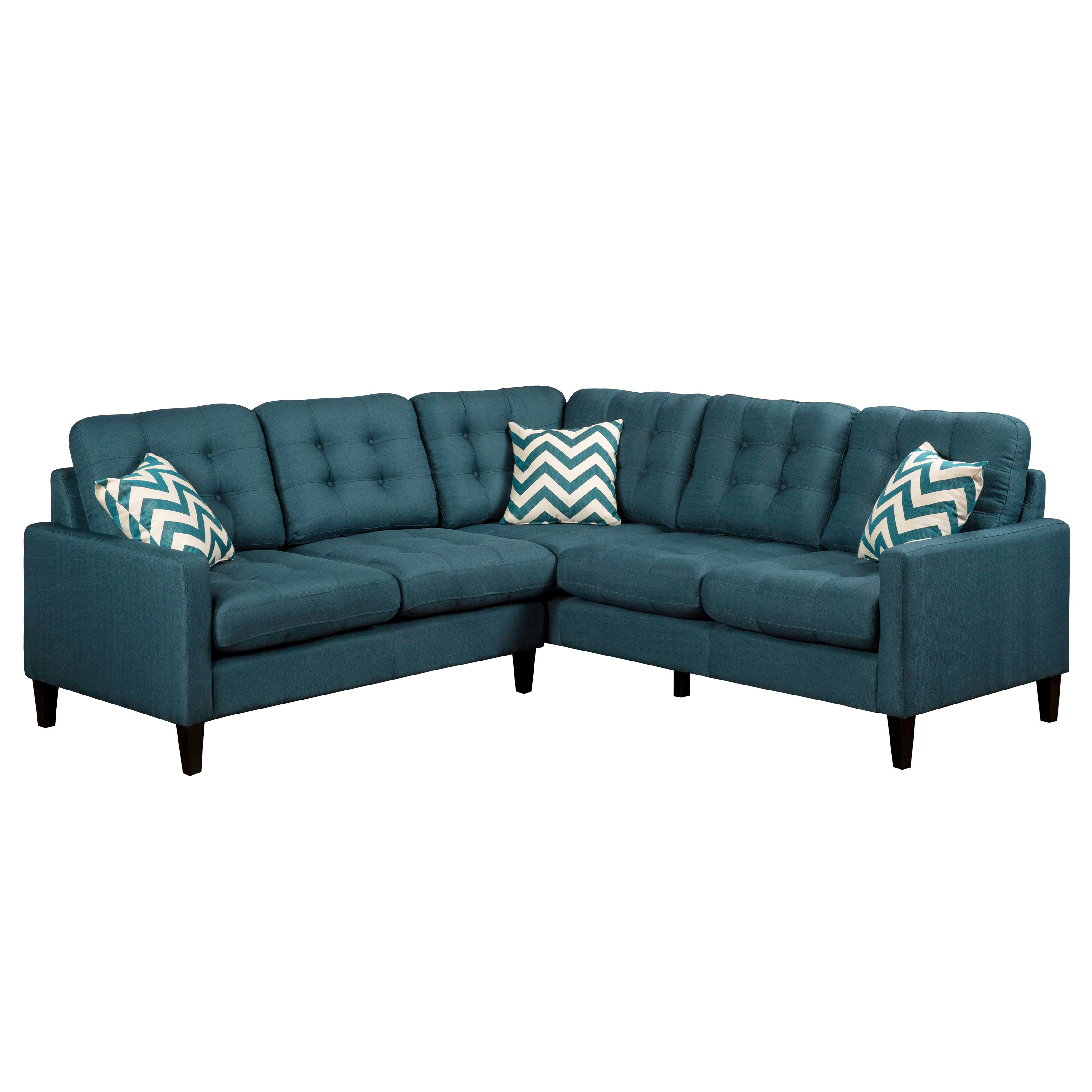 Shop porter harlow deep teal sectional sofa with woven accent pillows free shipping today overstock com 11089805