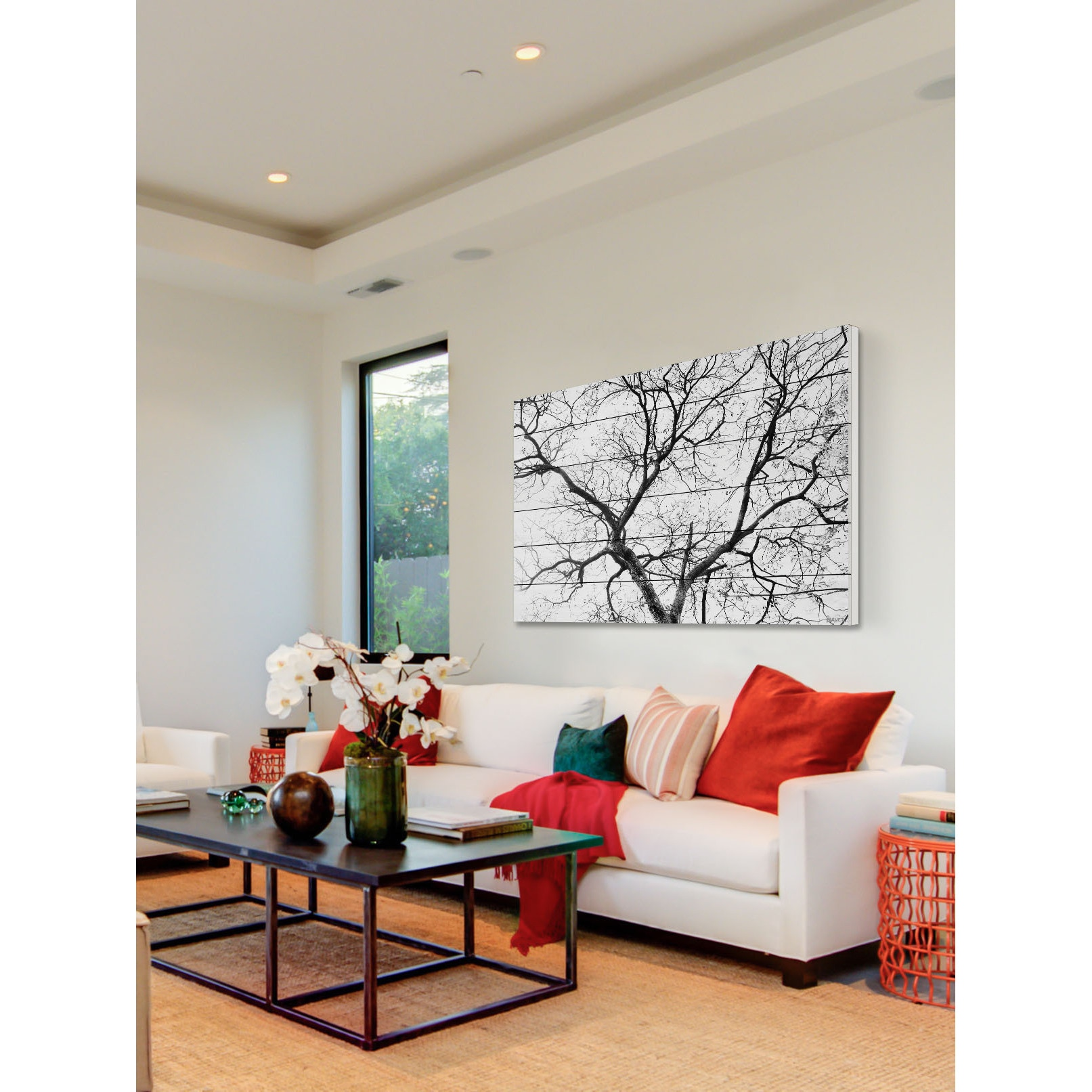 Shop Parvez Taj   Black Branches Painting Print On White Wood   On Sale    Free Shipping Today   Overstock.com   11089988