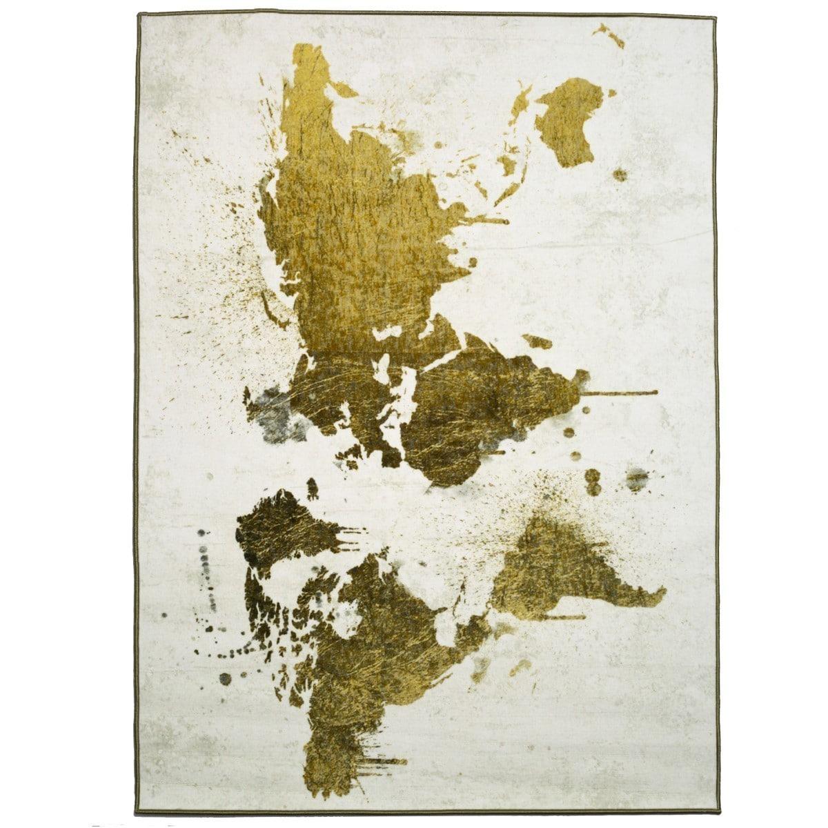 Oliver Gal Mapamundi White Gold Rug Multi Free Shipping Today 11097321