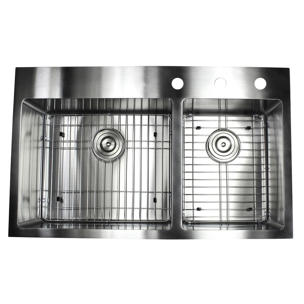 Shop 33 Inch Top Mount Drop In Stainless Steel Double Bowl 60 40