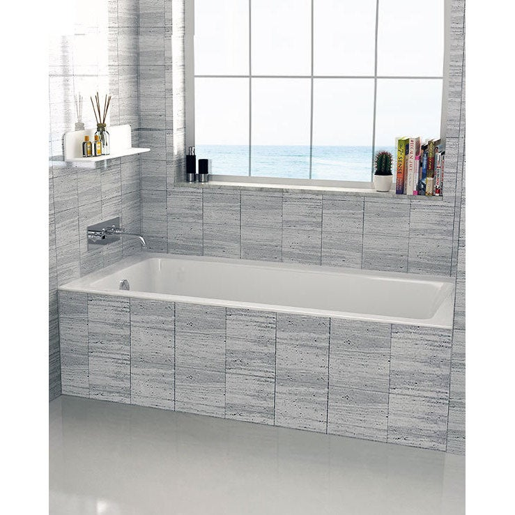 Shop Left-side Fixed Grey Tile Flange Alcove Bathtub (32\