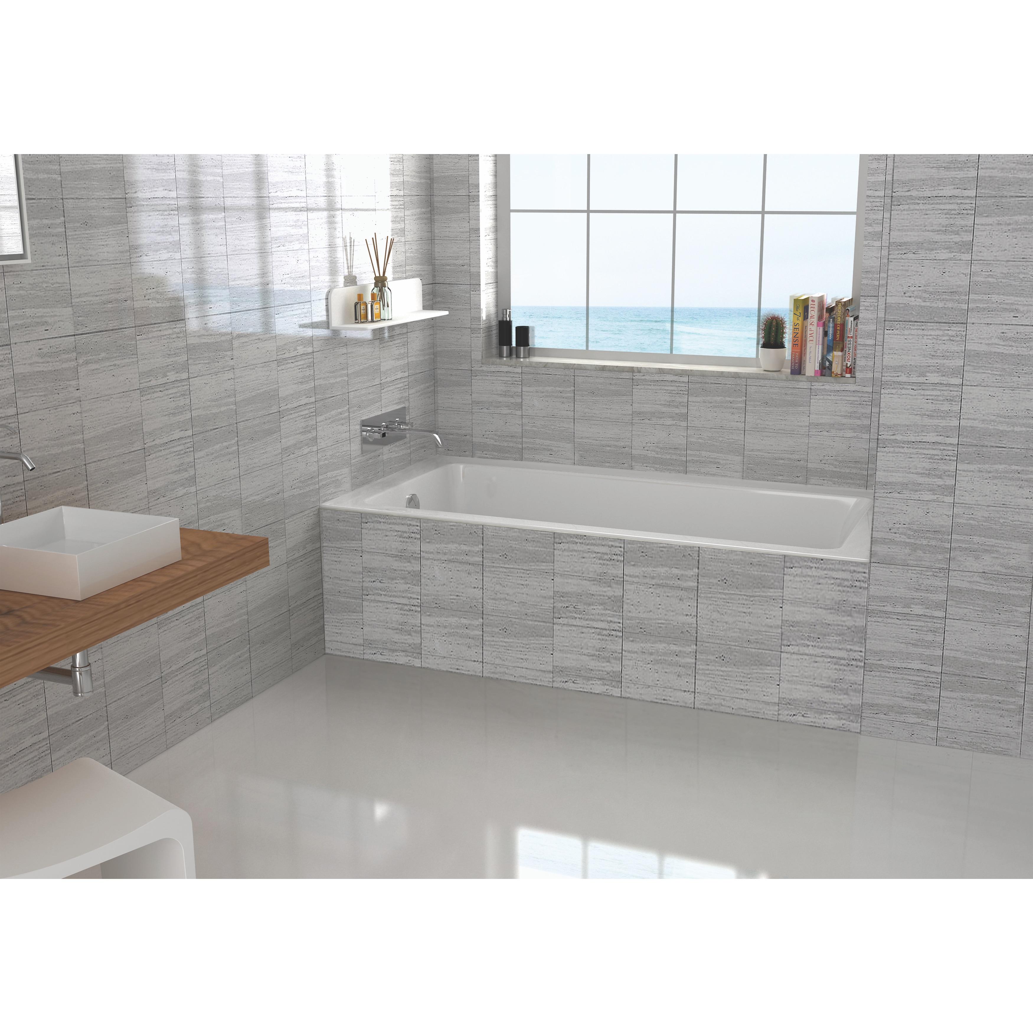 Shop Left-side Fixed Grey Tile Flange Alcove Bathtub (32\