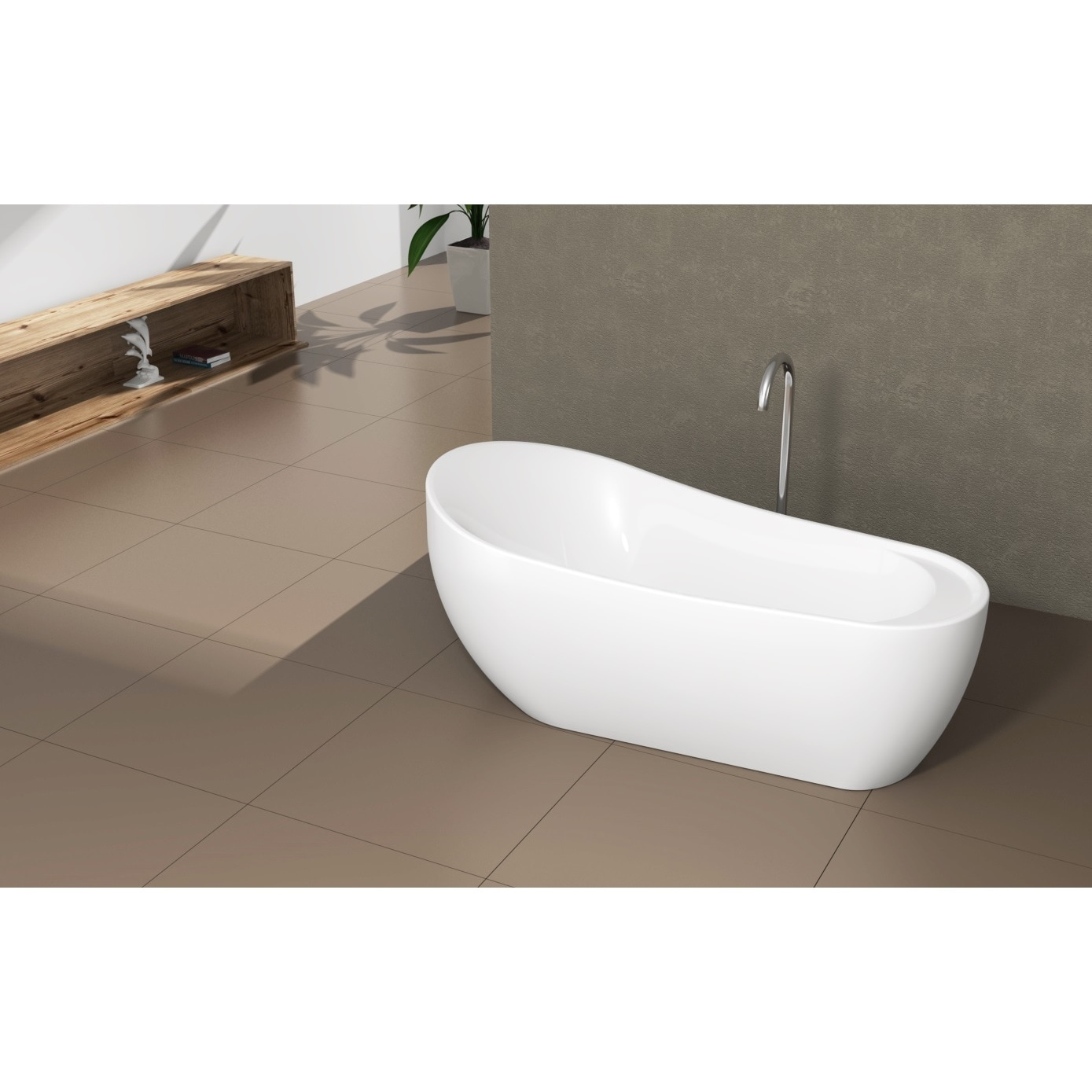 Shop Fine Fixtures Modern Freestanding Oval Tub - Free Shipping ...