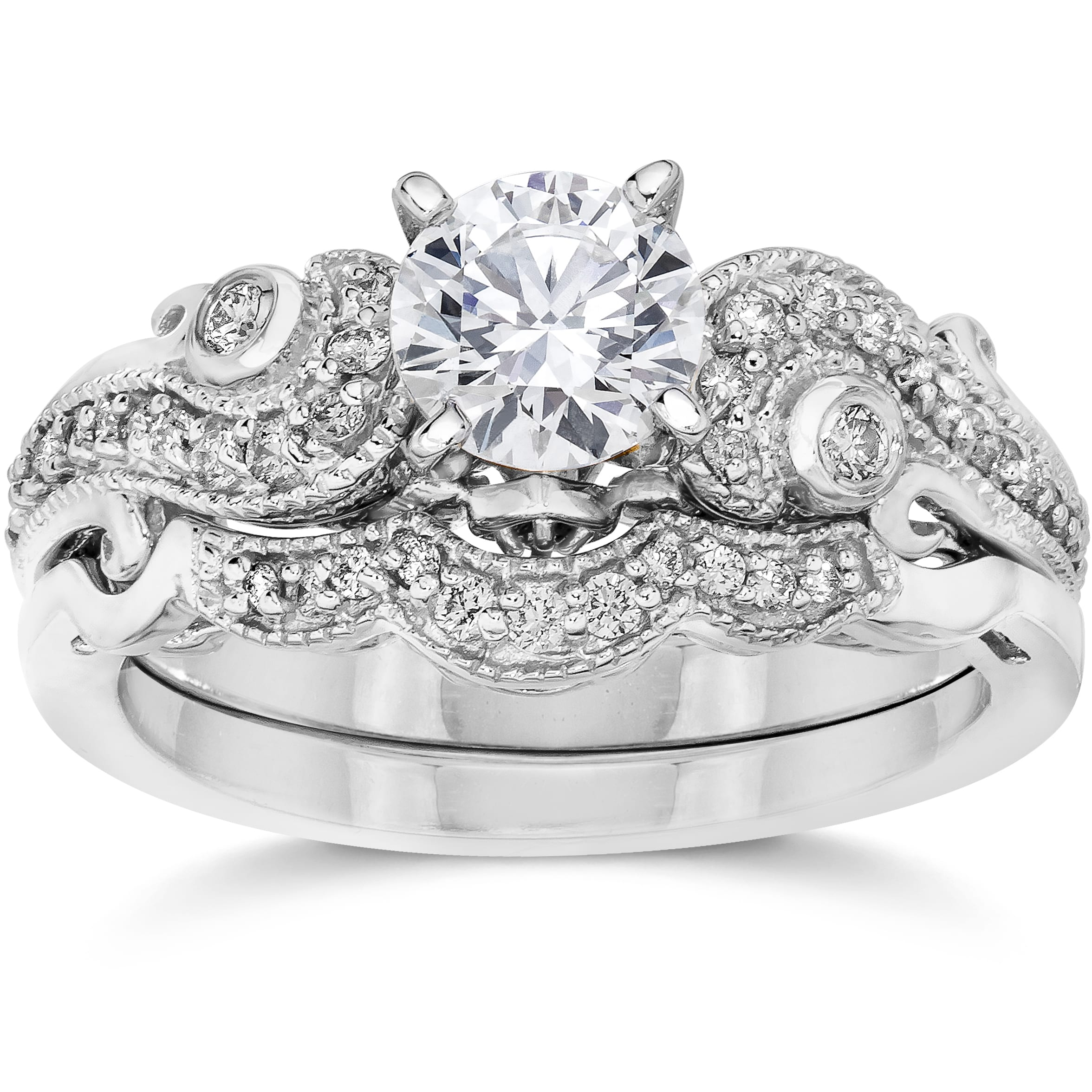 Shop Bliss 14k White Gold 3/ 4ct TDW Vintage Diamond Engagement ...