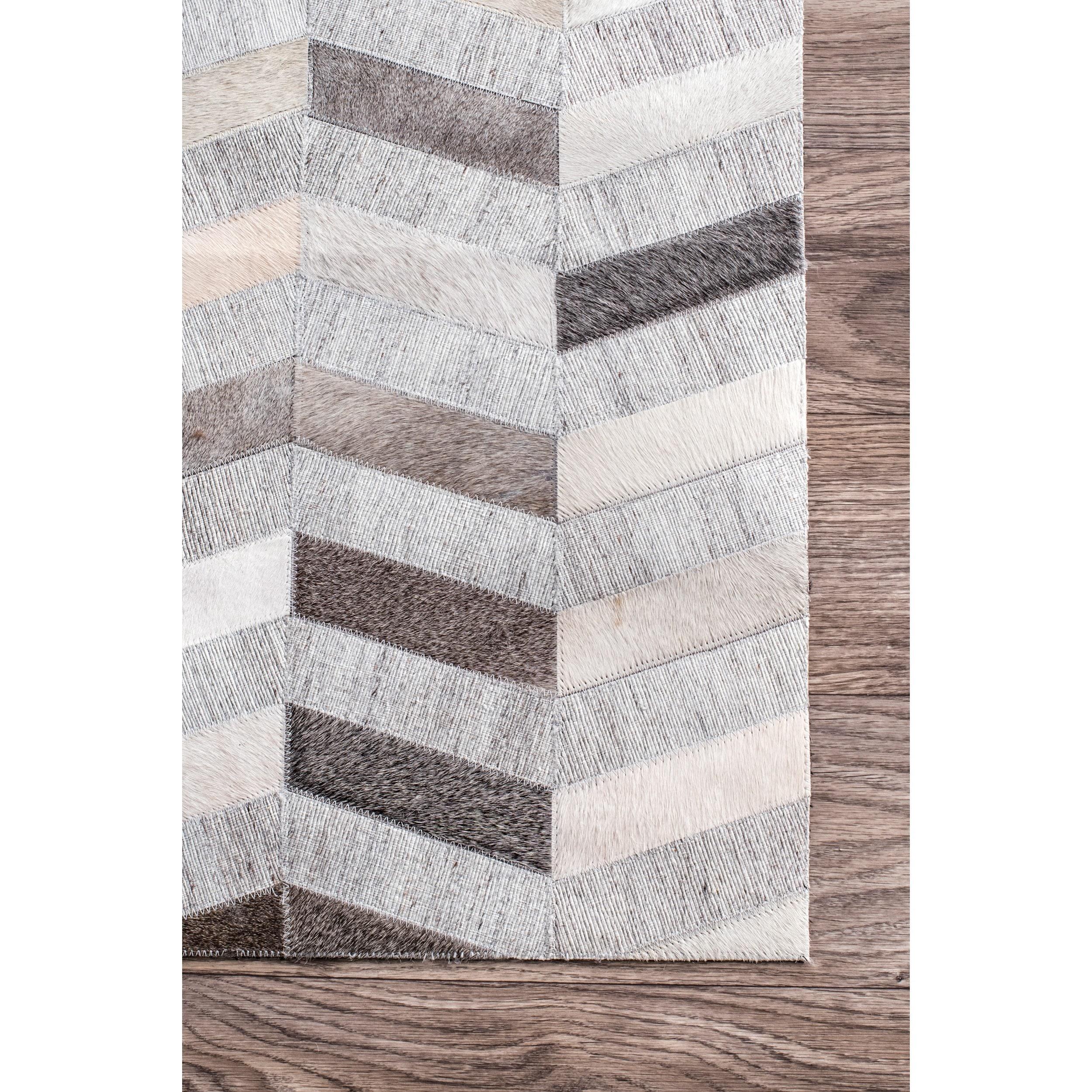 nuLOOM Handmade Patchwork Herringbone Leather/ Viscose Silver Area ...