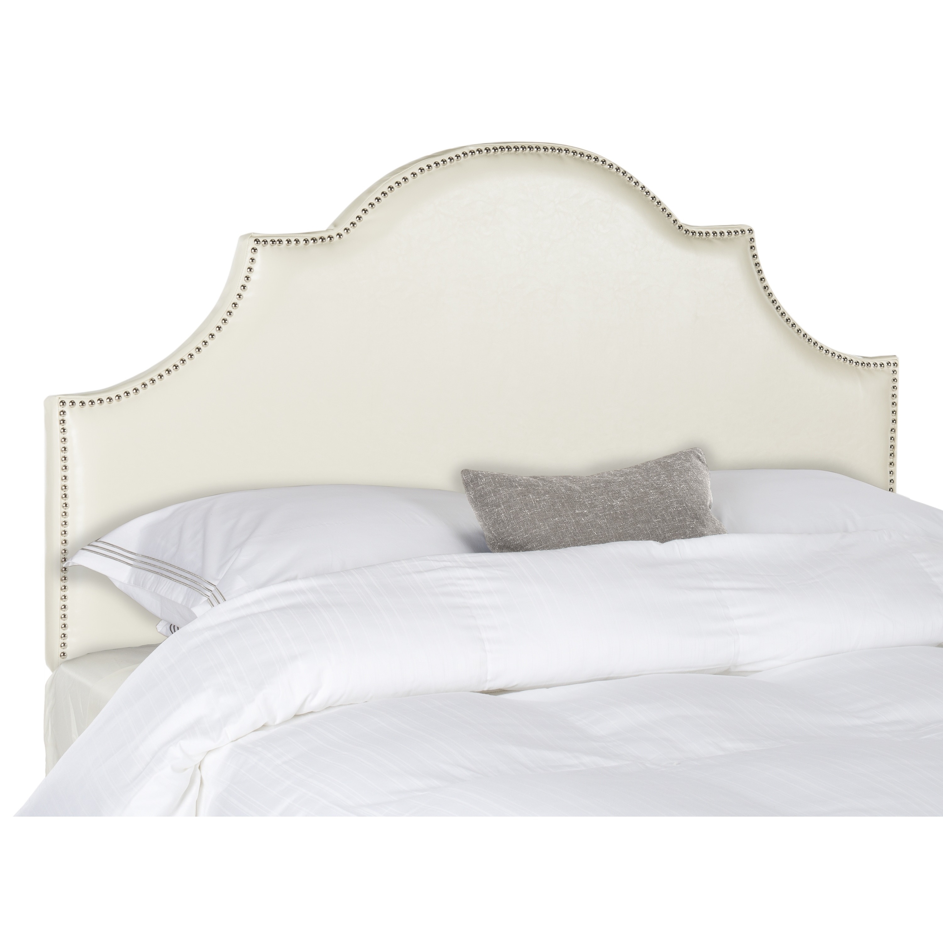 safavieh hallmar white leather upholstered arched headboard  silvernailhead (queen)  free shipping today  overstockcom  . safavieh hallmar white leather upholstered arched headboard