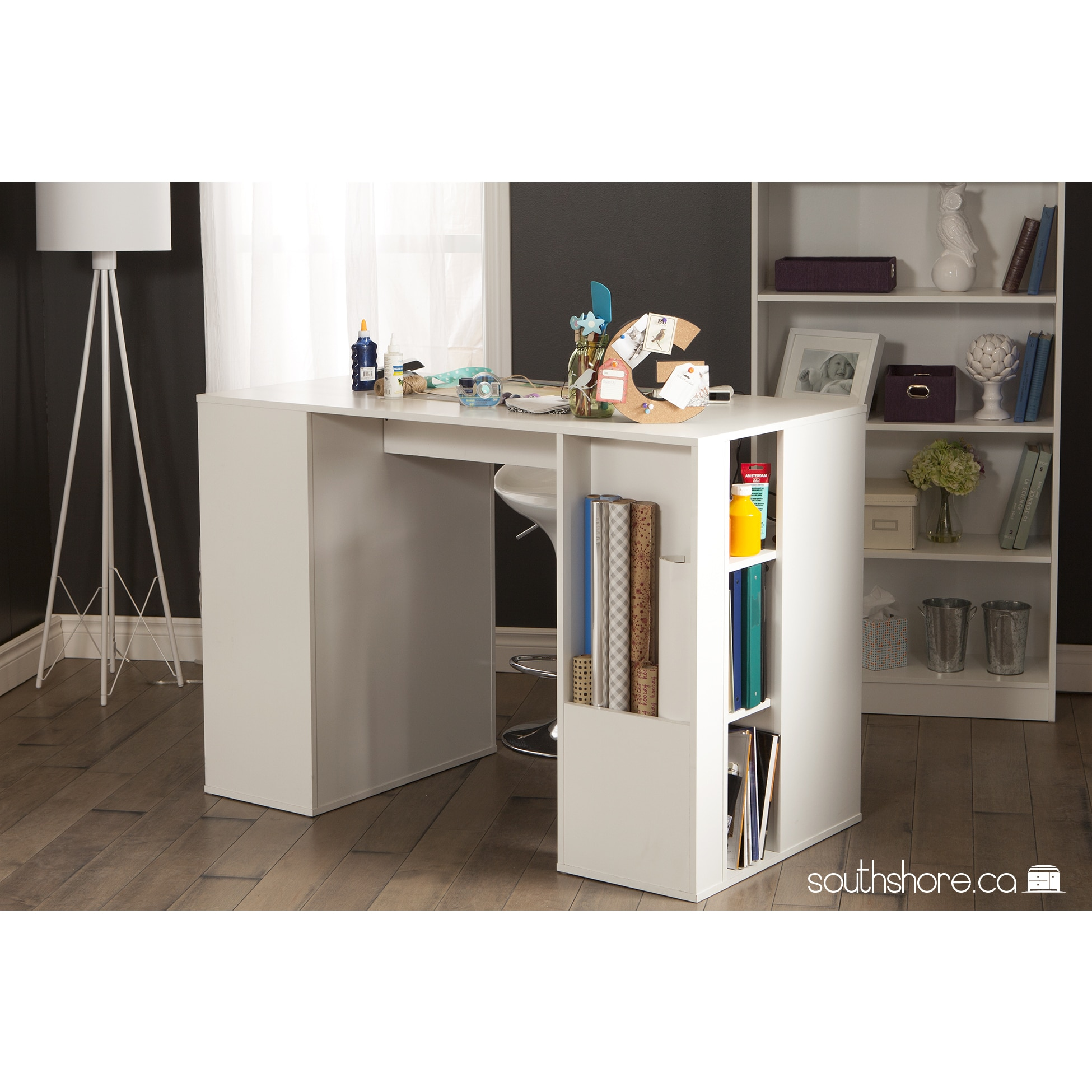 Shop South Shore Furniture Crea White Wood Counter Height Craft Hobby  Sewing Machine Table With Storage   Free Shipping Today   Overstock.com    11098798