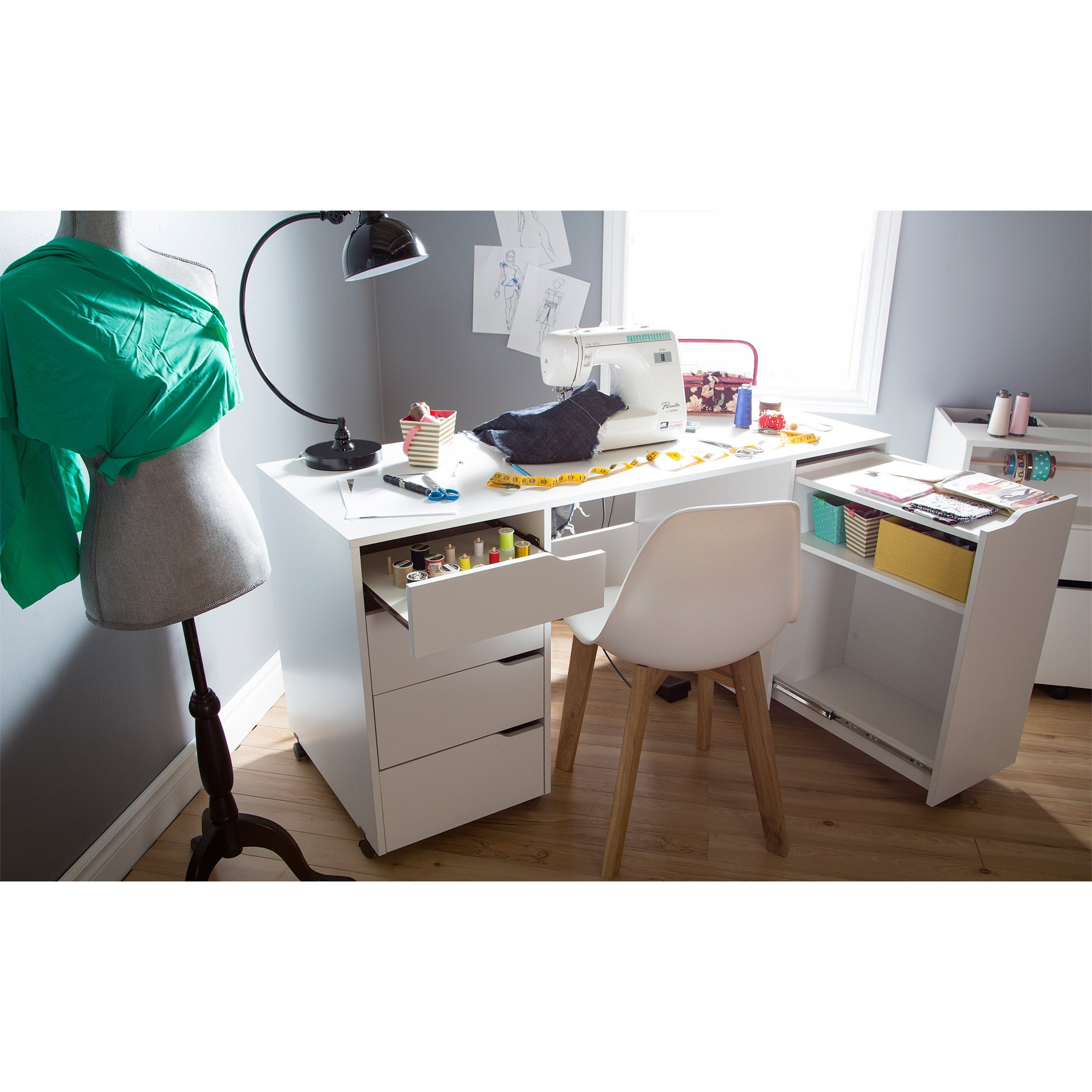 South Shore Crea Rolling Sewing Machine and Craft Table - Free Shipping  Today - Overstock.com - 18104315