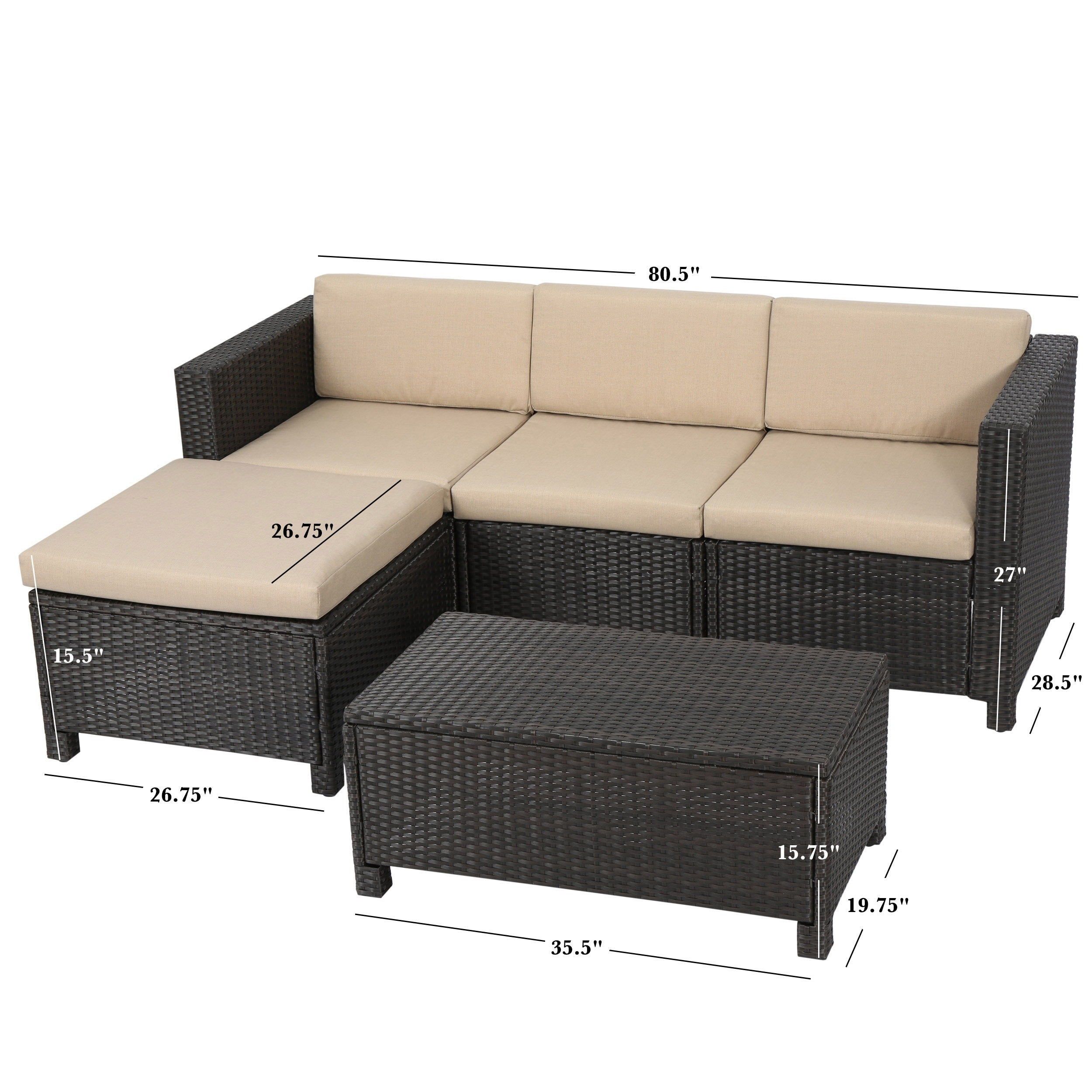 Outdoor Puerta PE Wicker L shaped Sectional 5 piece Sofa Set with