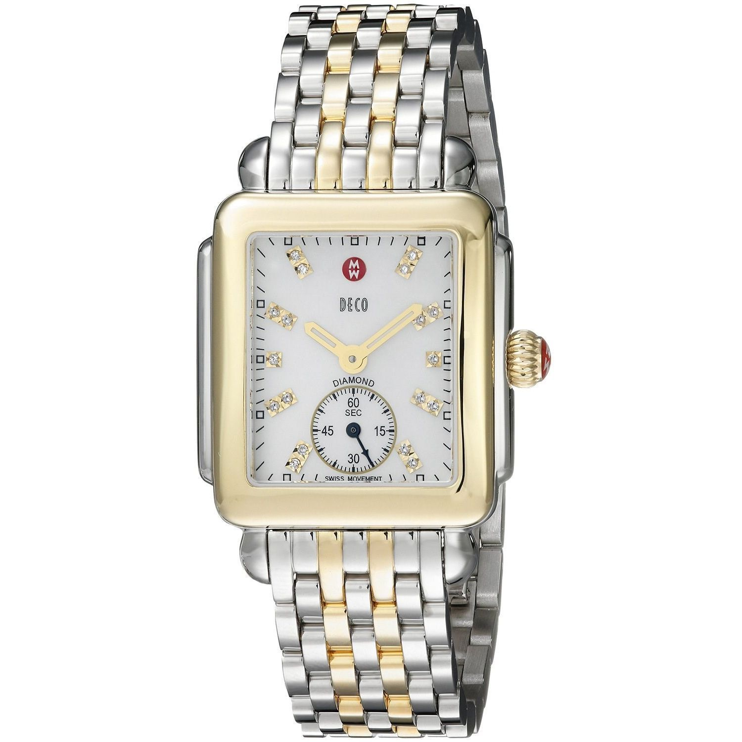 Shop Michele Women s Deco 16 Diamond Two Tone Stainless Steel