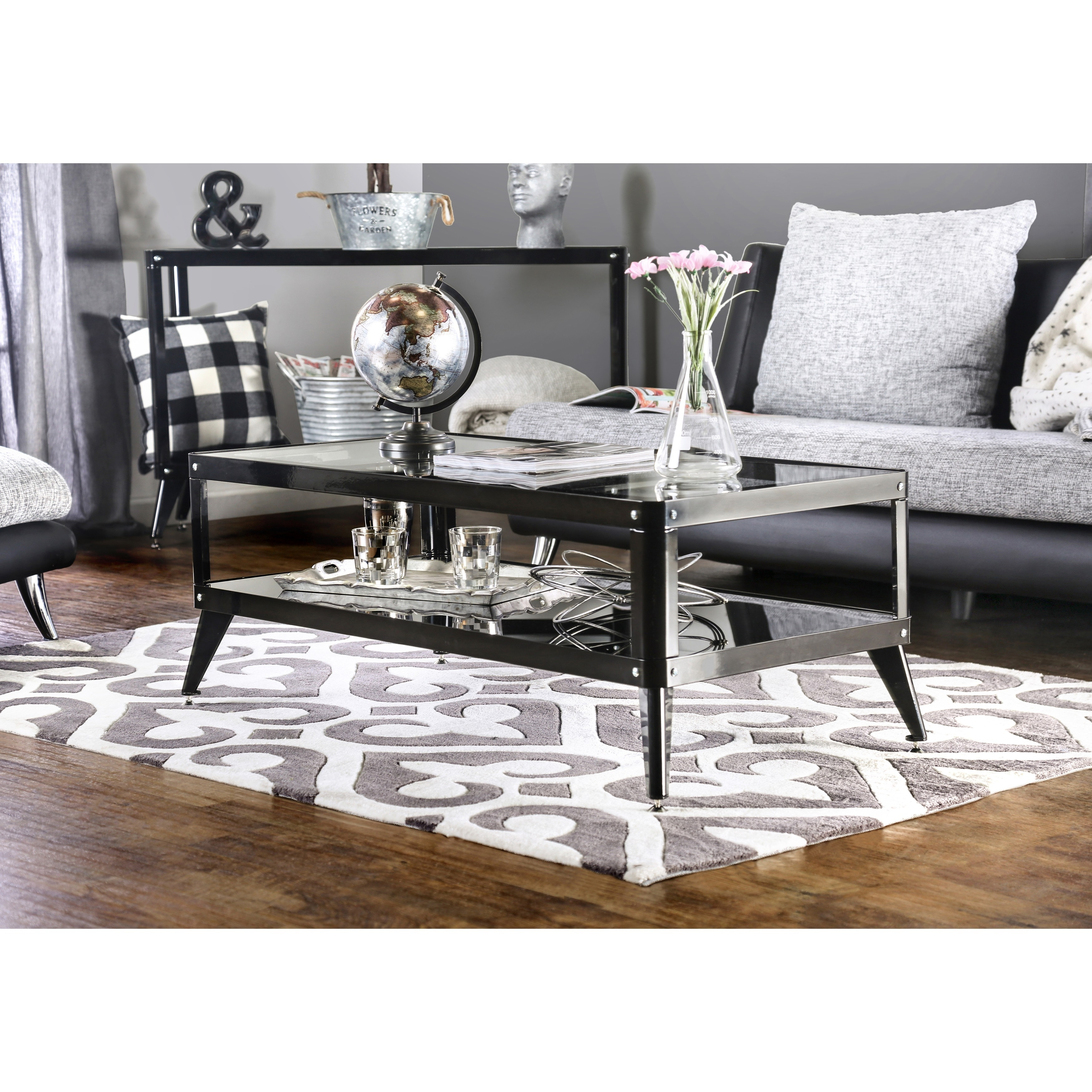 Shop Furniture Of America Linden Modern Glass Top Metal Coffee Table   Free  Shipping Today   Overstock.com   11101659