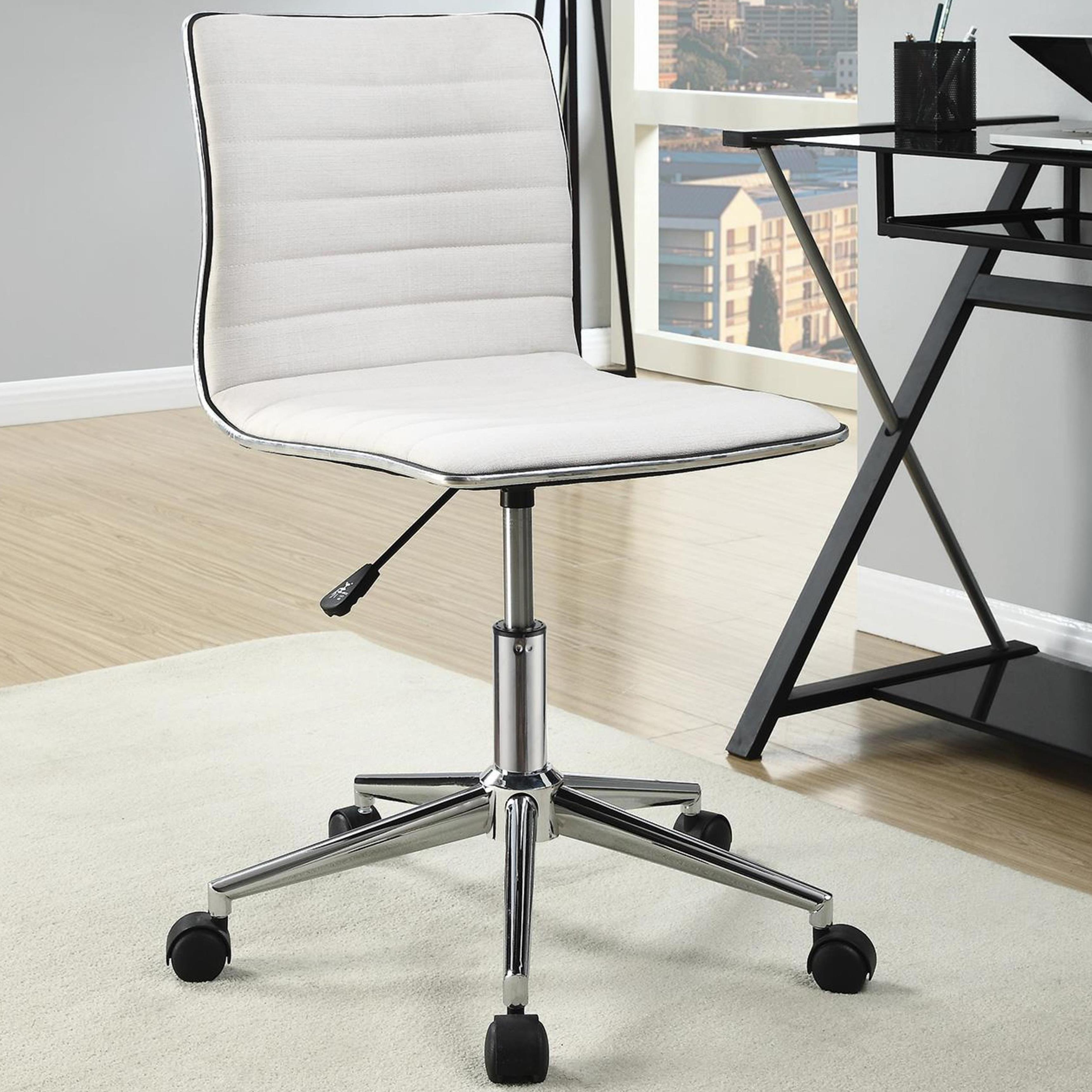Juliana Adjule Sleek Cream Swivel Office Conference Chair With Chrome Base Free Shipping Today 11104226