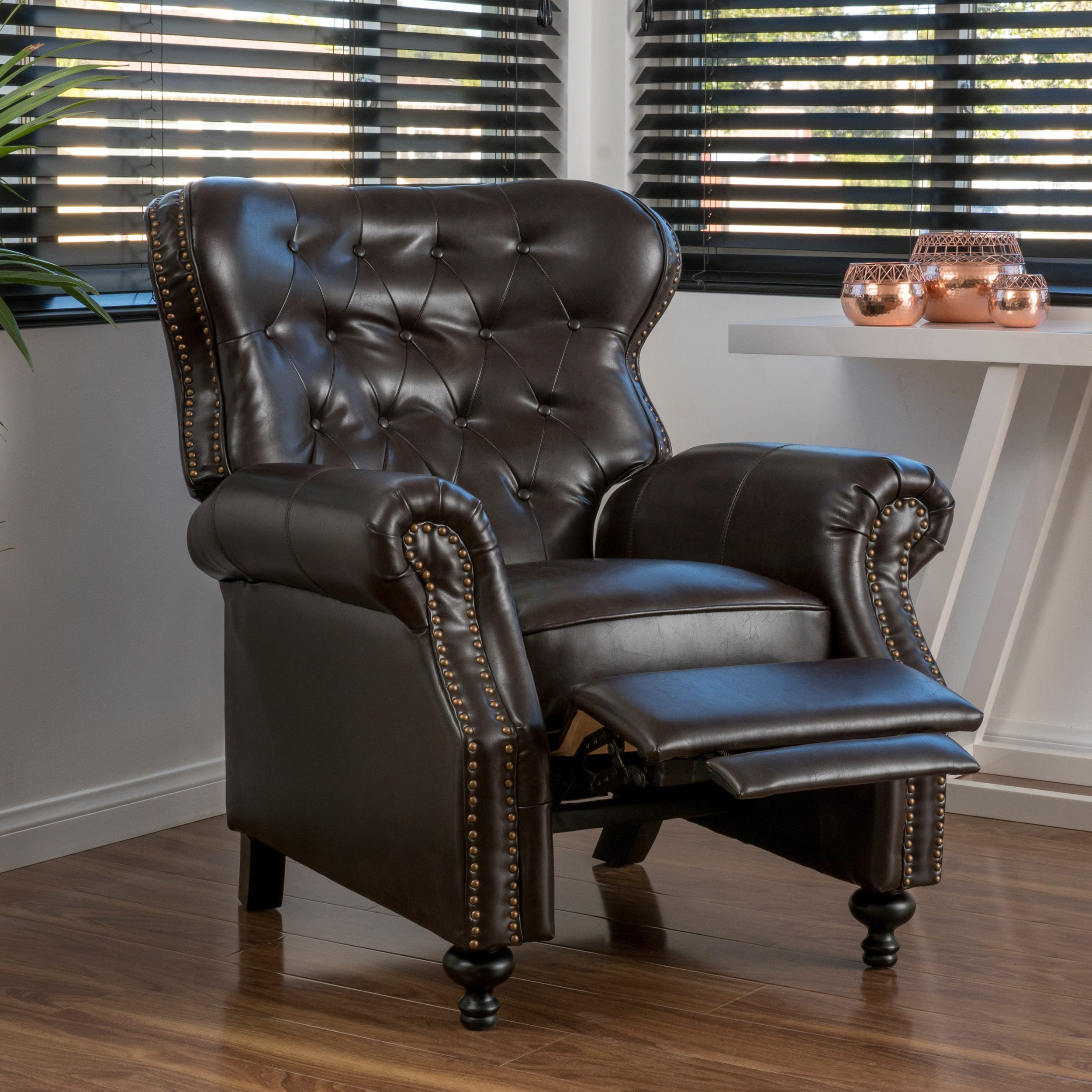 Walder Bonded Leather Recliner Club Chair By Christopher Knight Home On Free Shipping Today 11104243