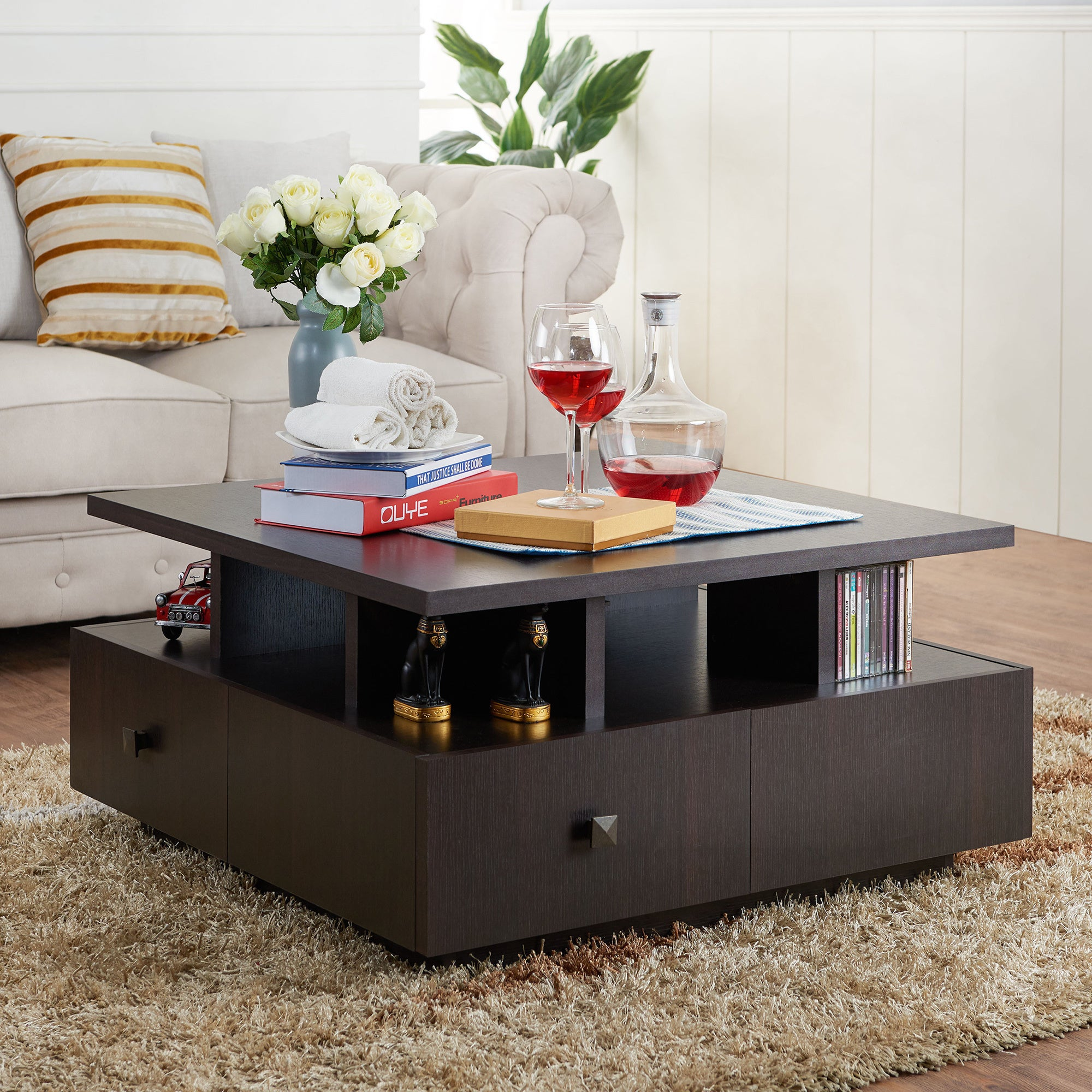 Shop furniture of america terrenal tiered espresso 4 drawer coffee table on sale free shipping today overstock com 11104778