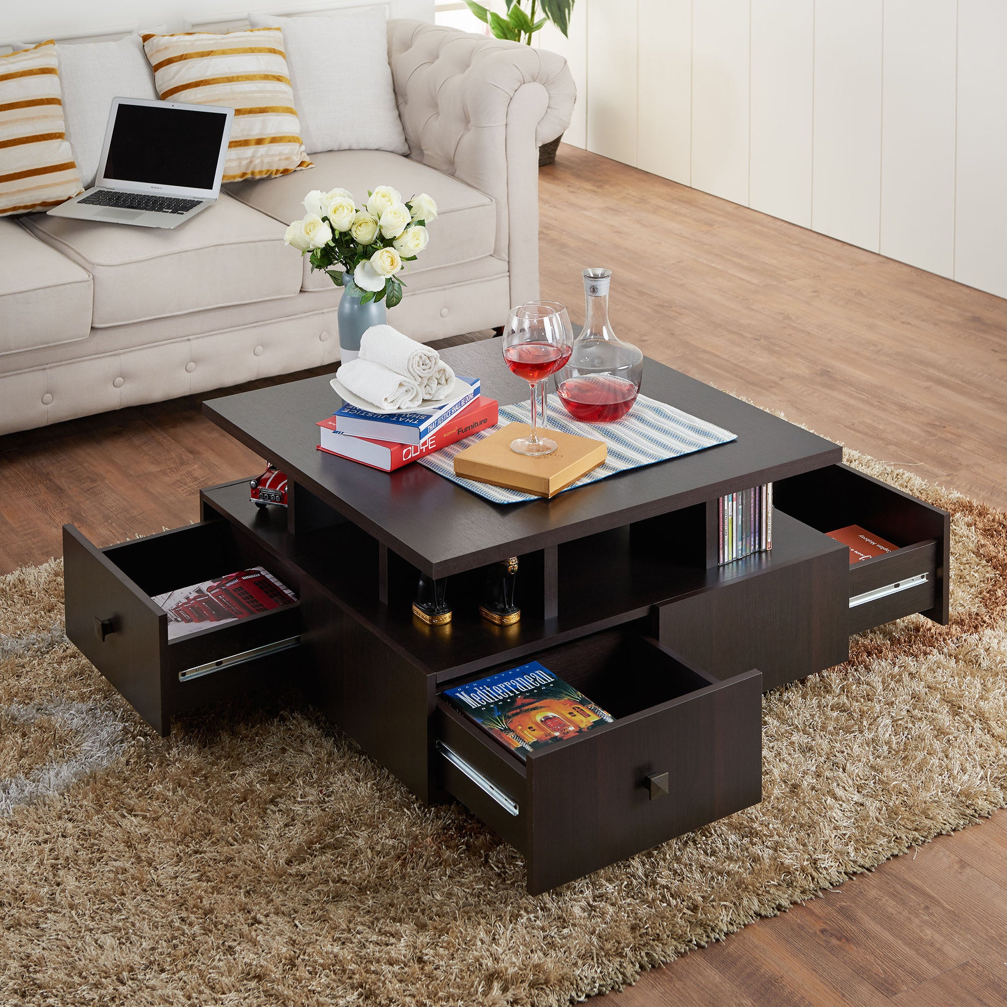 Furniture Of America Terrenal Tiered Espresso 4 Drawer Coffee Table   Free  Shipping Today   Overstock   18108803
