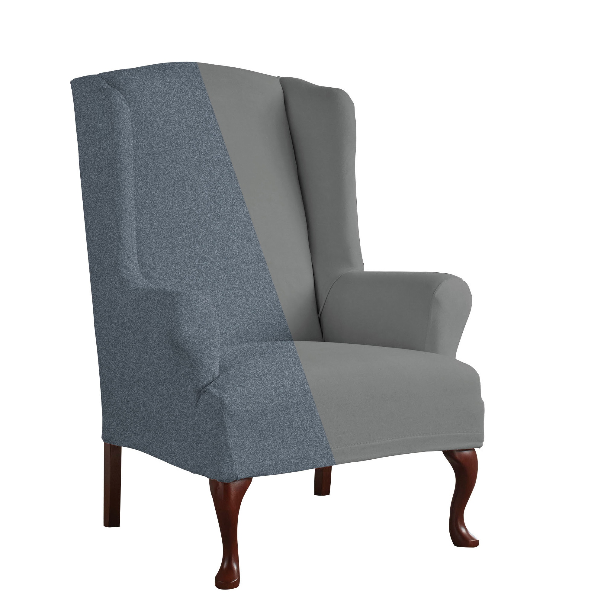 Tailor Fit Reversible Stretch Suede T Wingback Chair Slipcover   Free  Shipping Today   Overstock   18108872