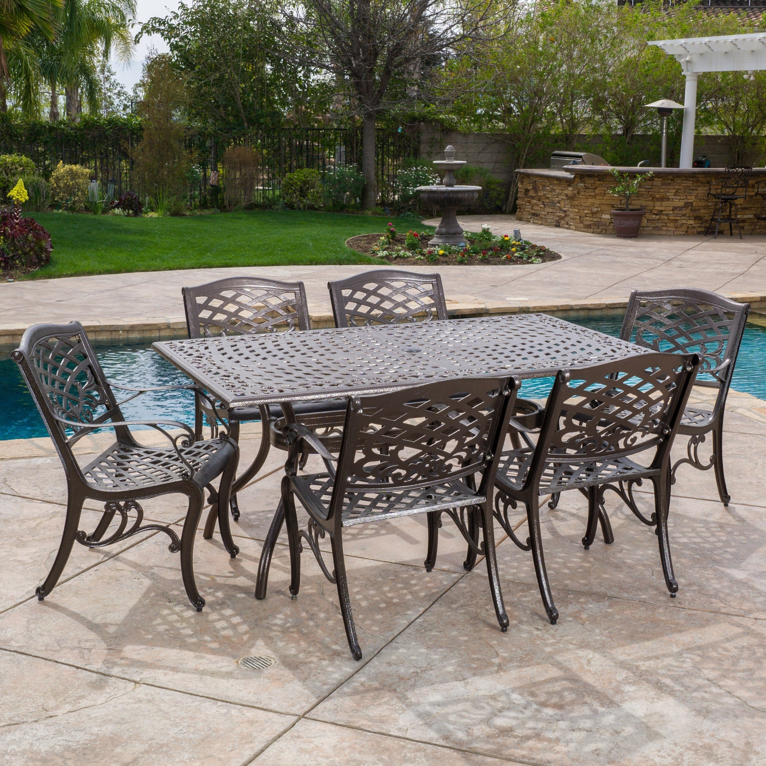 Christopher Knight Home Outdoor Hallandale 7 Piece Cast Aluminum Rectangle Bronze Dining Set
