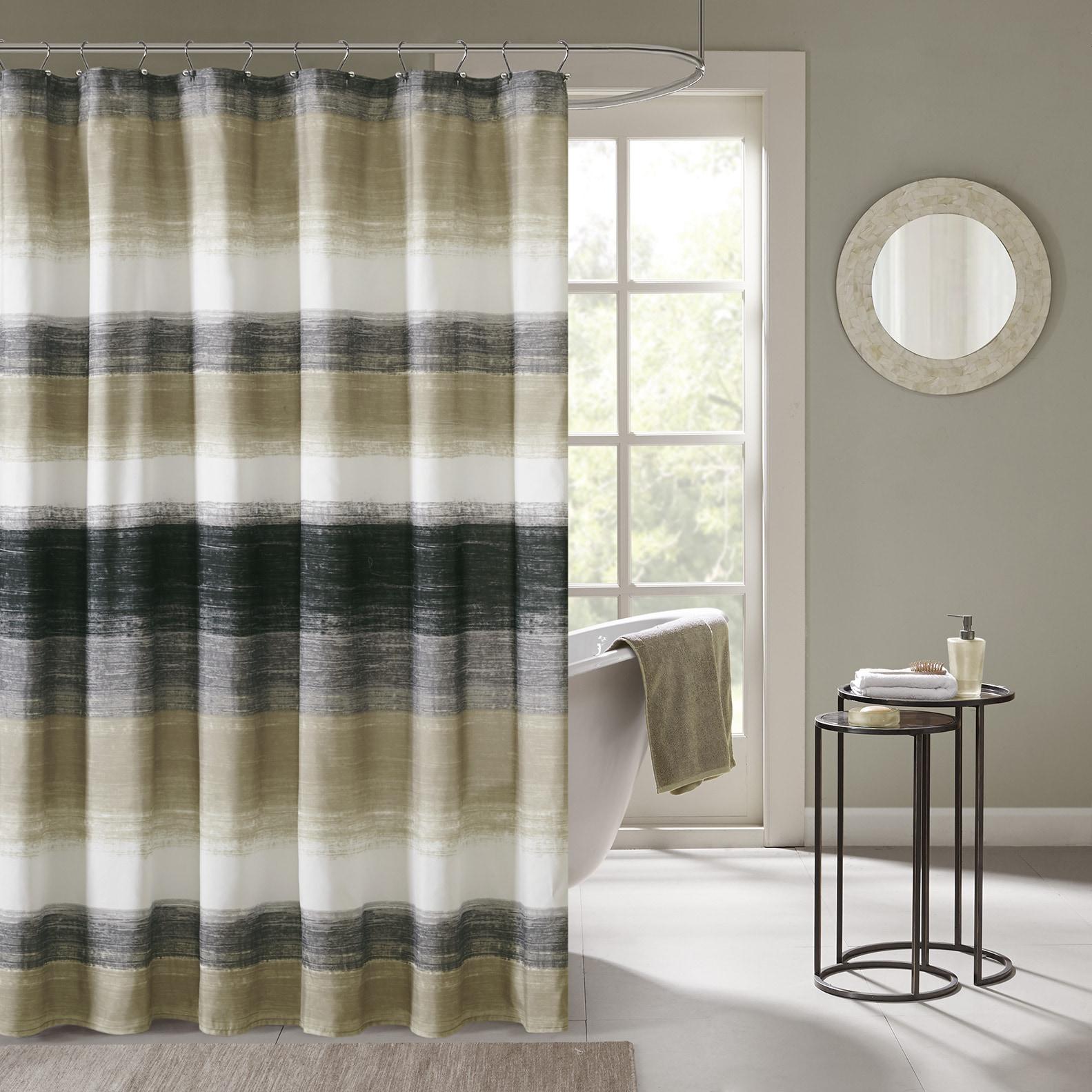 Carson Carrington Jutland Printed Taupe Olive Shower Curtain
