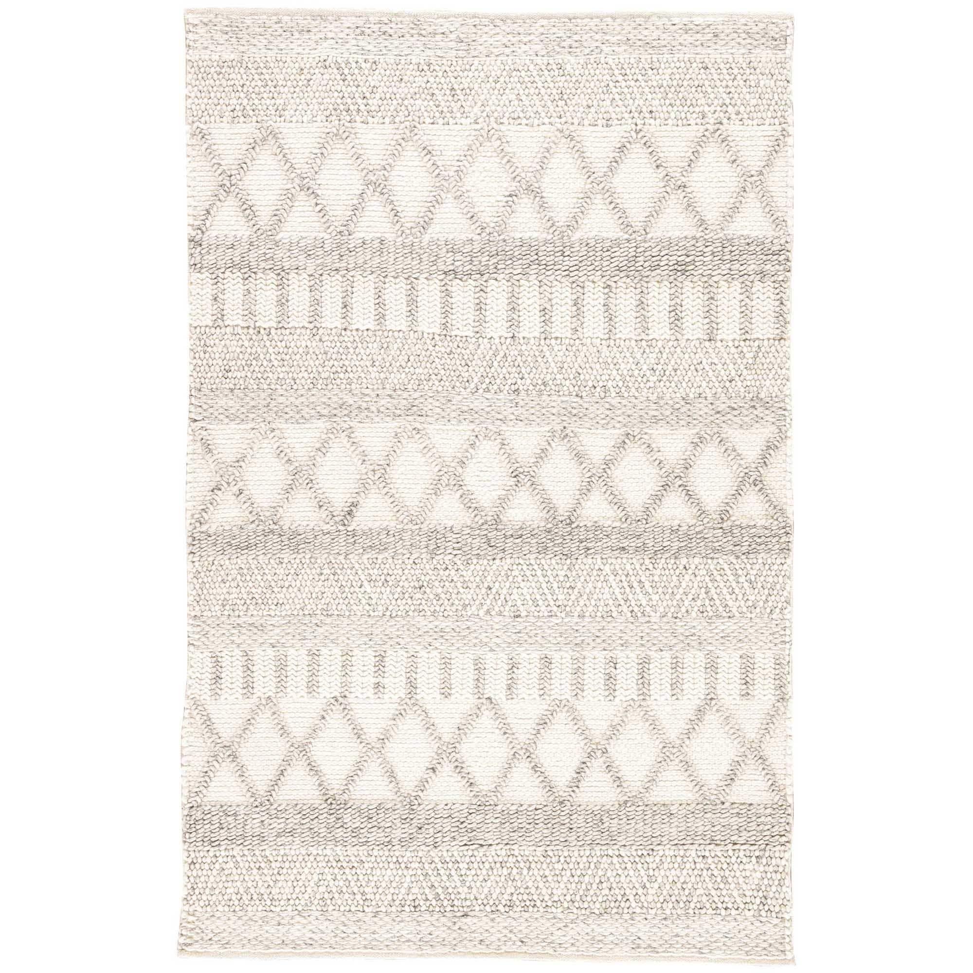 Shop Janson Handmade Geometric Gray White Area Rug 8 X 10 On