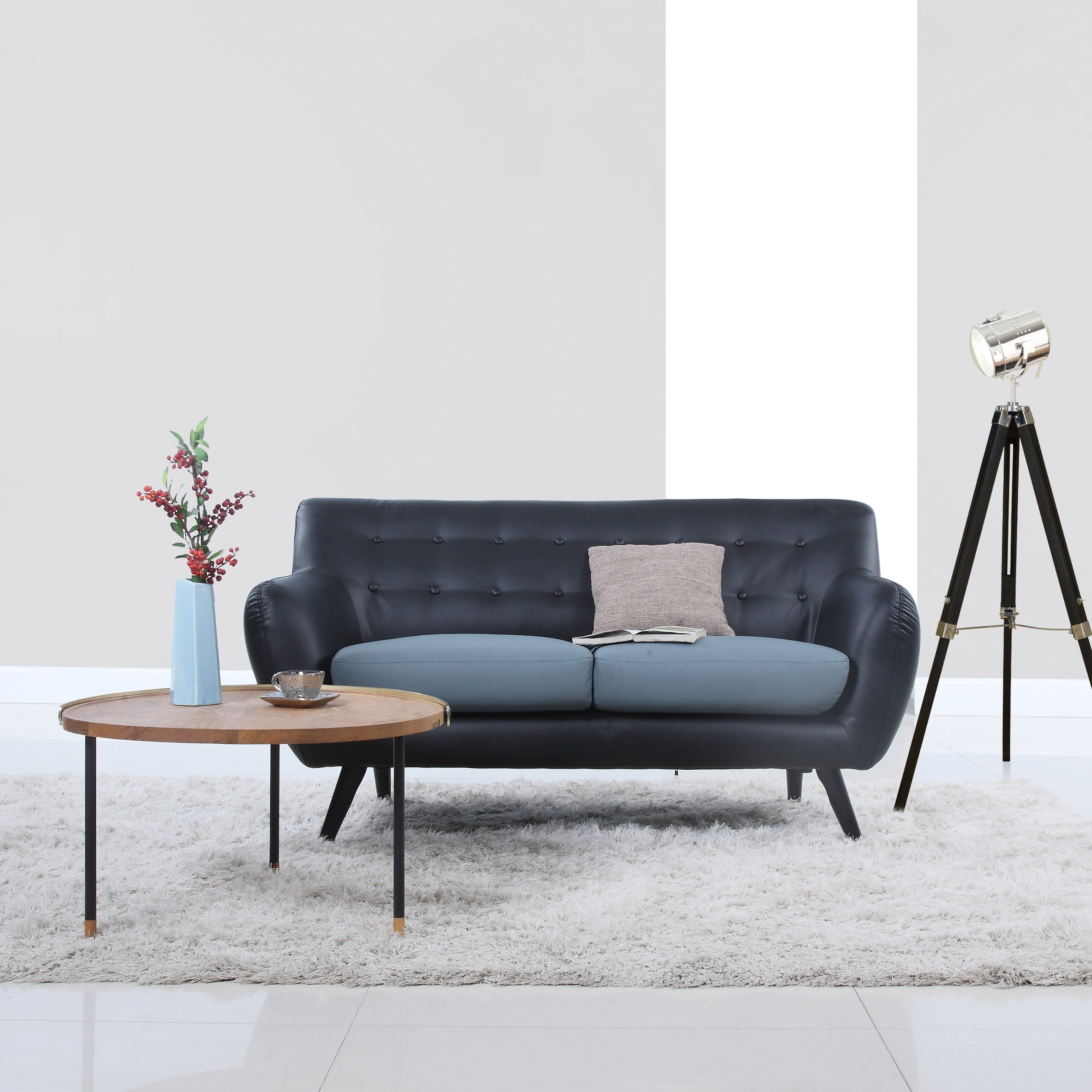 Shop mid century modern bonded leather loveseat living room furniture free shipping today overstock com 11111126
