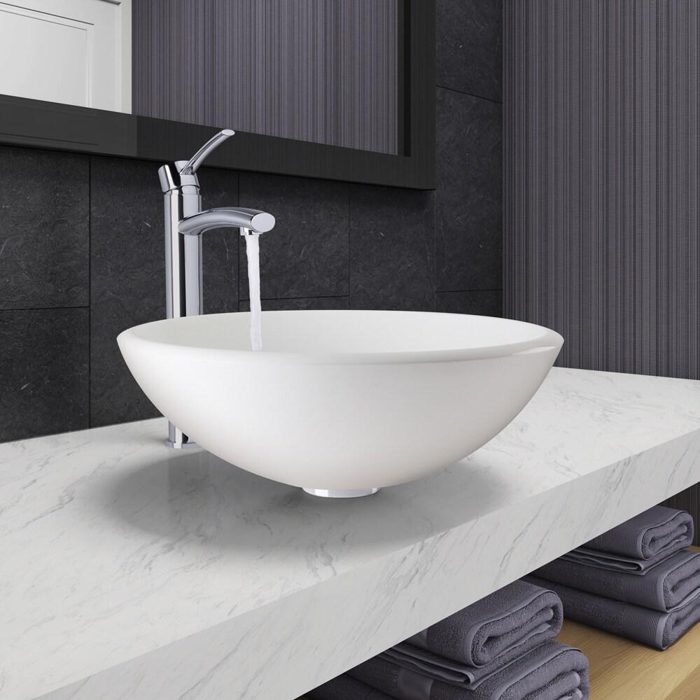 VIGO Elizabeth Phoenix Stone Vessel Bathroom Sink Set With Milo ...