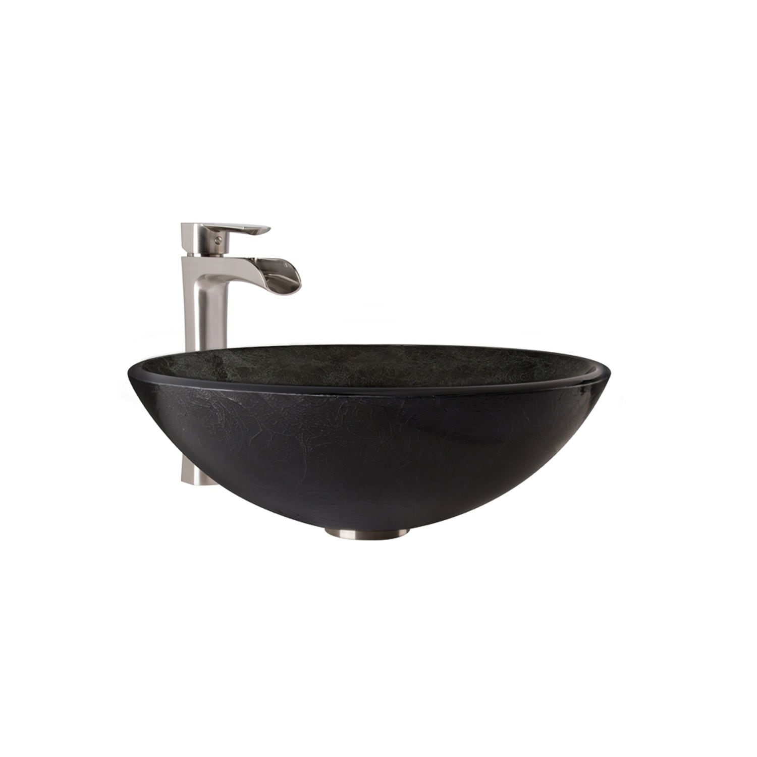 Shop VIGO Gray Onyx Glass Vessel Bathroom Sink and Niko Faucet Set ...
