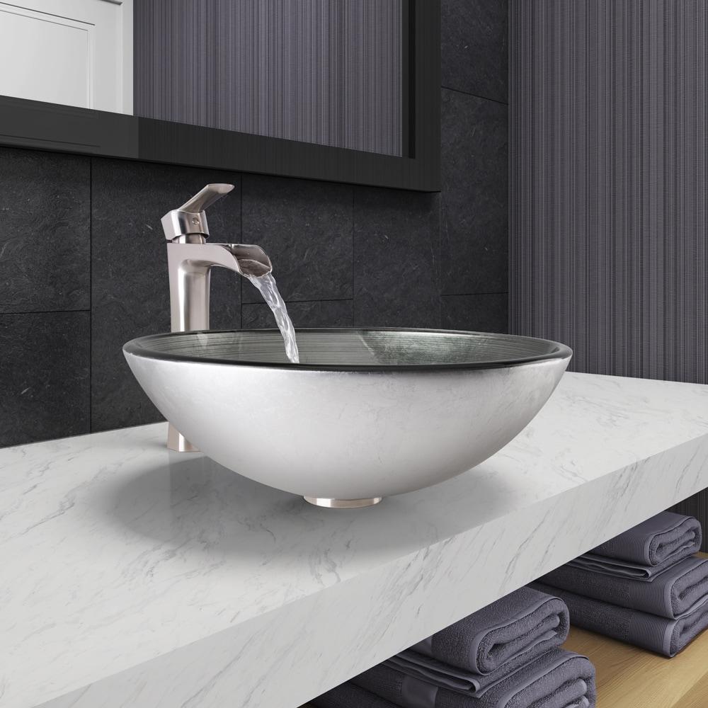 VIGO Simply Silver Glass Vessel Bathroom Sink And Niko Faucet Set In - Bathroom sink and faucet set