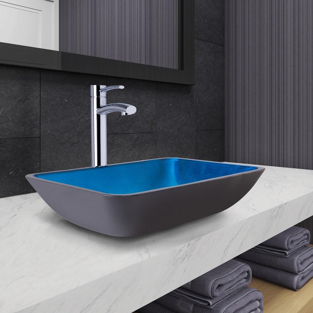 VIGO Rectangular Turquoise Water Glass Vessel Bathroom Sink and Milo ...