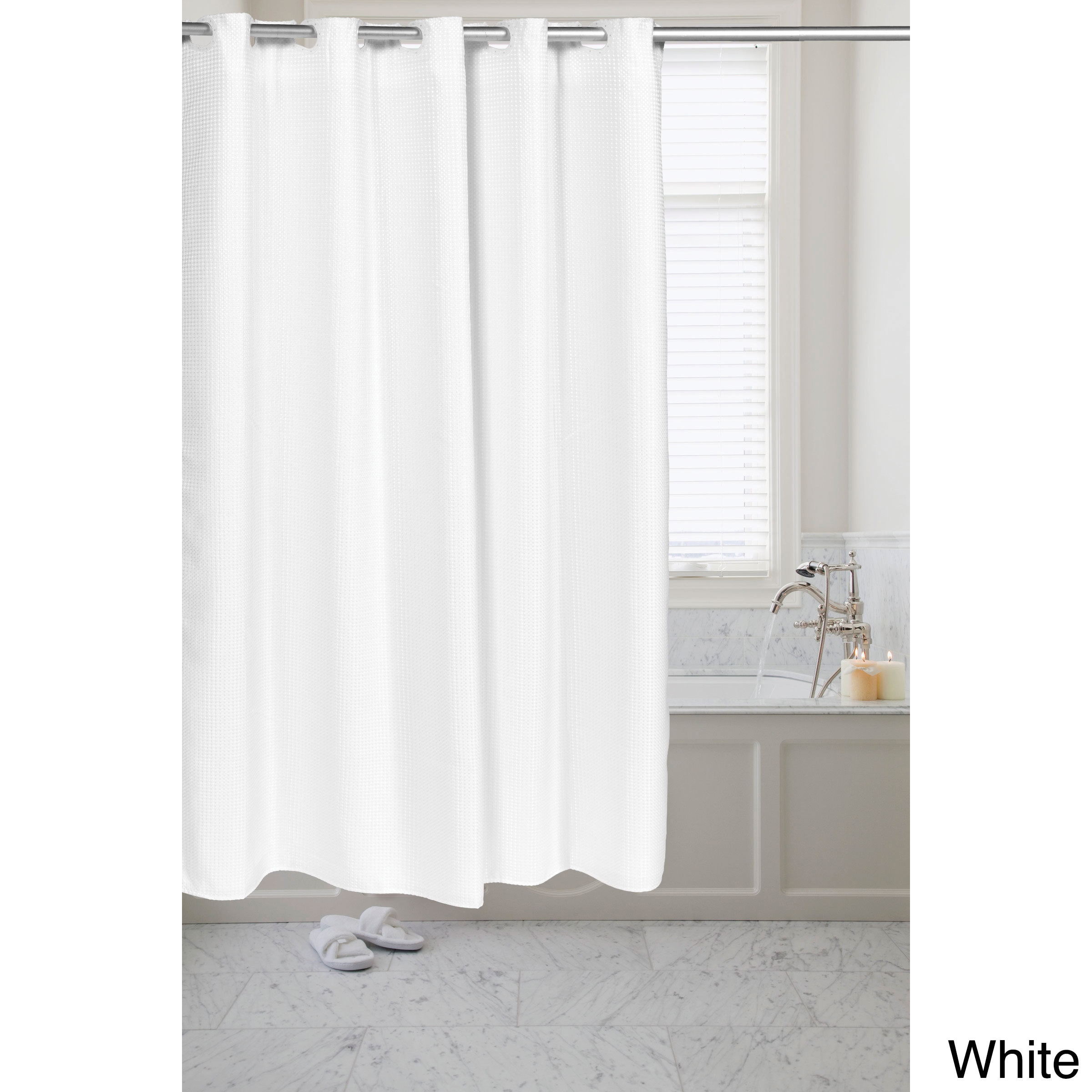 Waffle Weave Fabric Pre-hooked Shower Curtain - Free Shipping ...